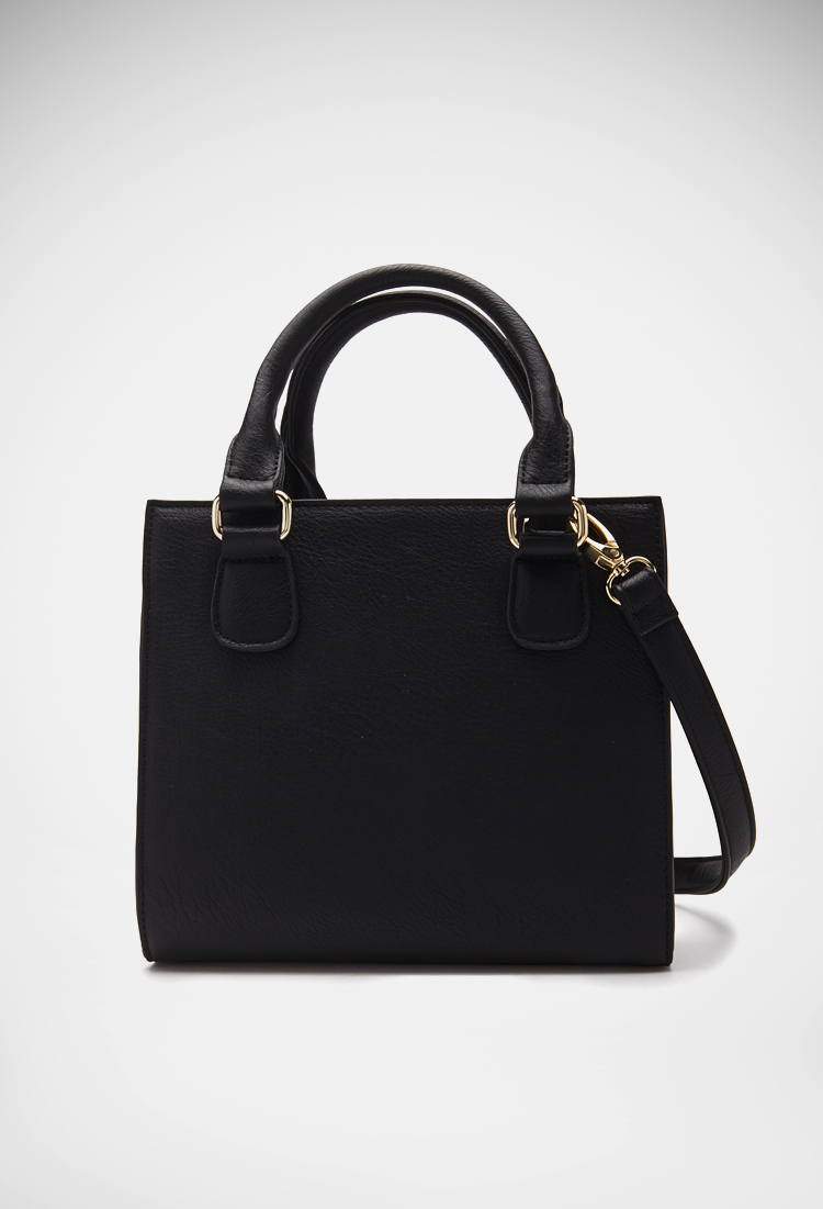 Lyst - Forever 21 Structured Faux Leather Satchel in Black 7cda80d7e435a
