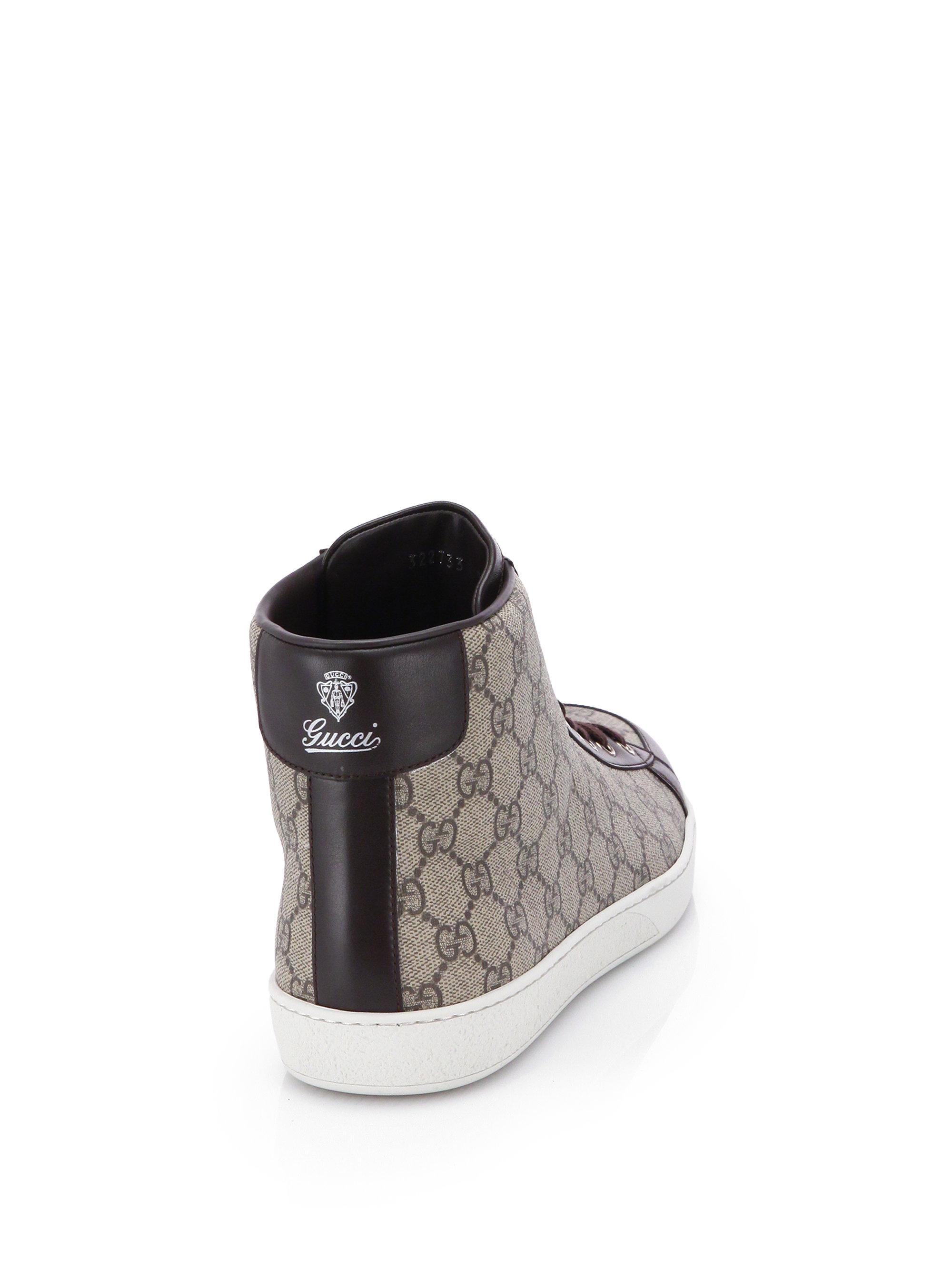 e49de03ba4d Lyst - Gucci Gg Supreme Canvas High-top Sneakers in Natural for Men