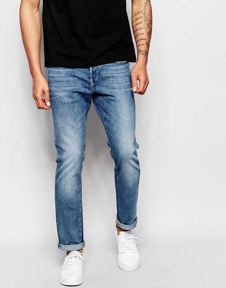 g star raw jeans 3301 slim fit stretch light aged wash in. Black Bedroom Furniture Sets. Home Design Ideas