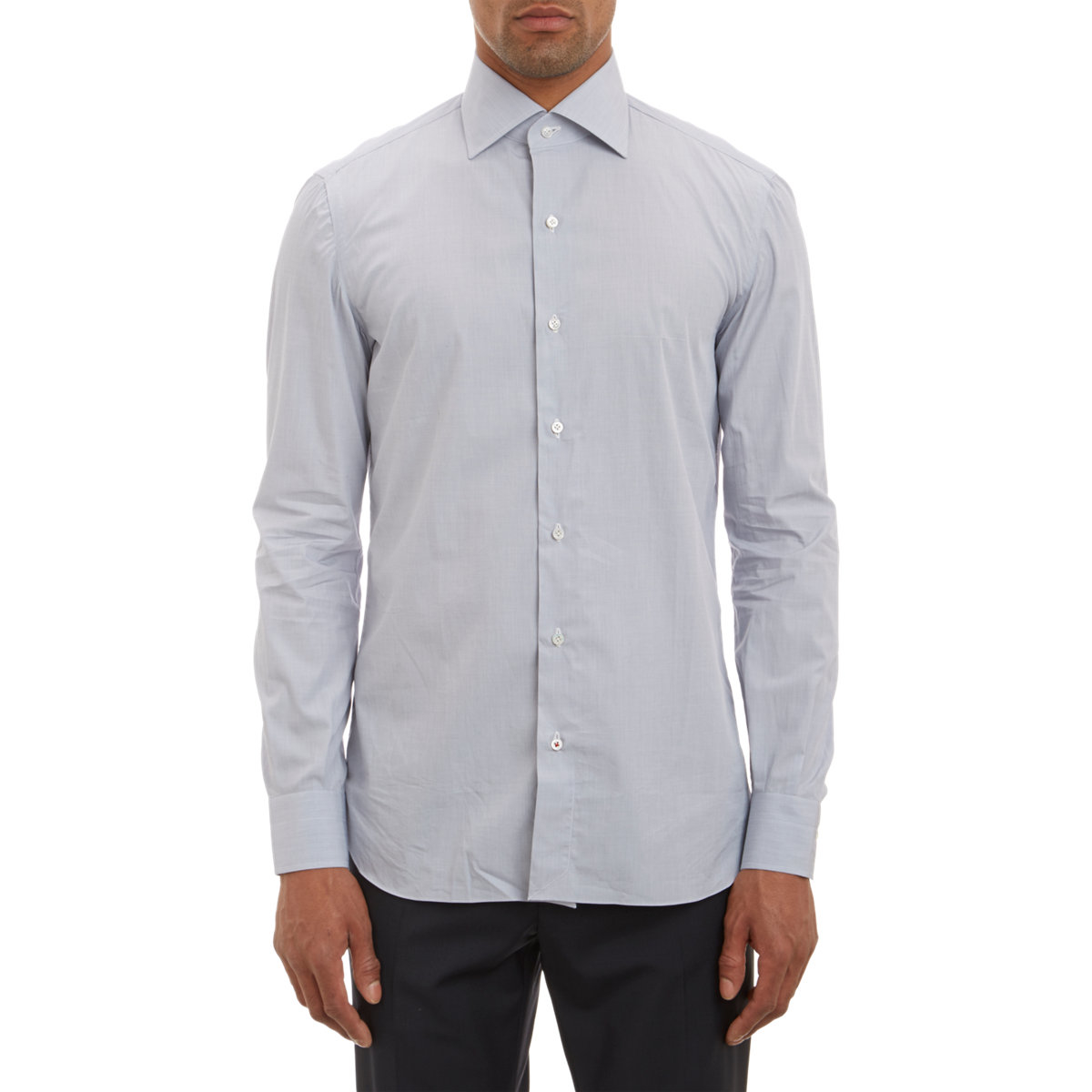 Lyst isaia men 39 s solid spread collar shirt in gray for men for Men s spread collar shirts