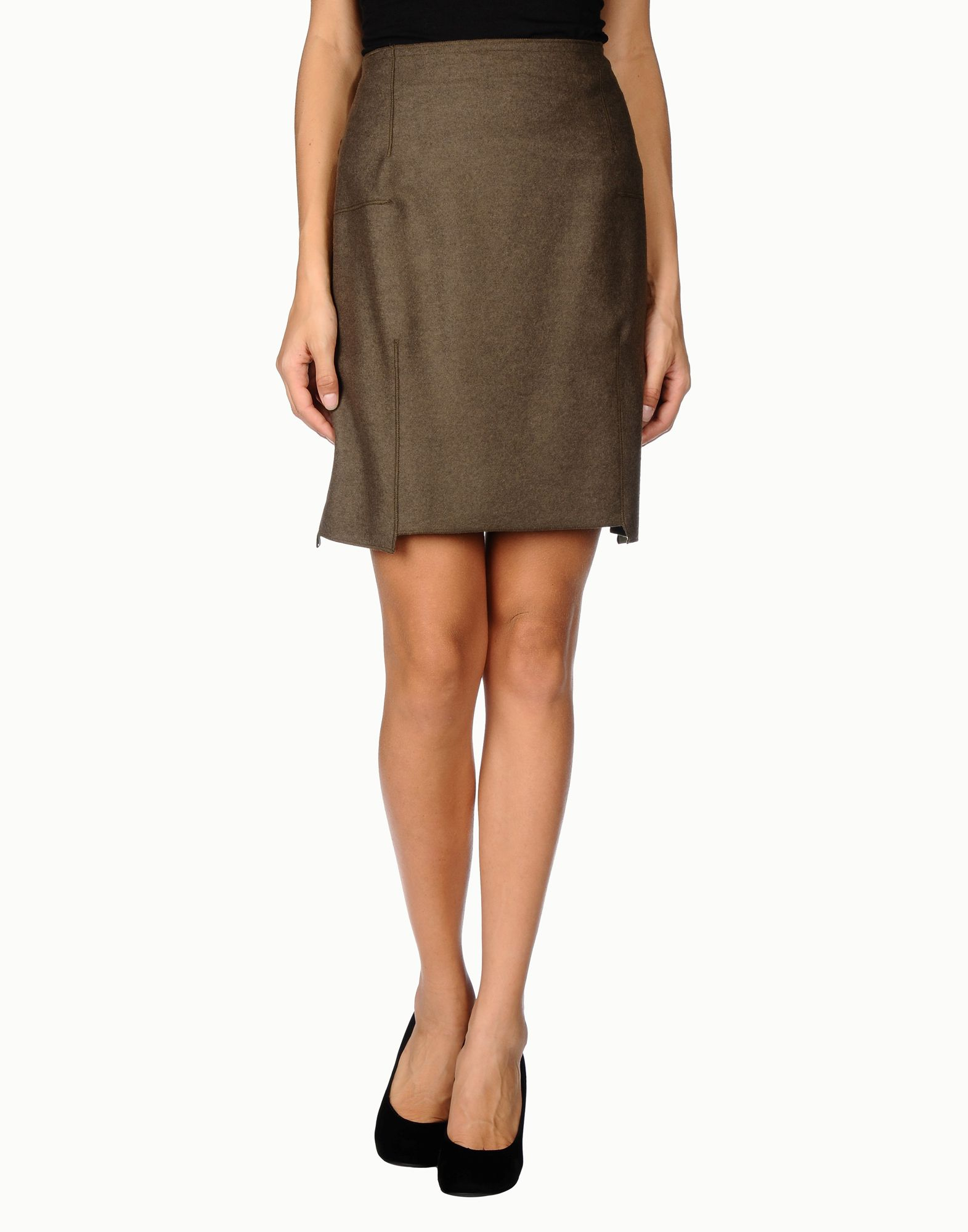 abitificio knee length skirt in khaki lyst