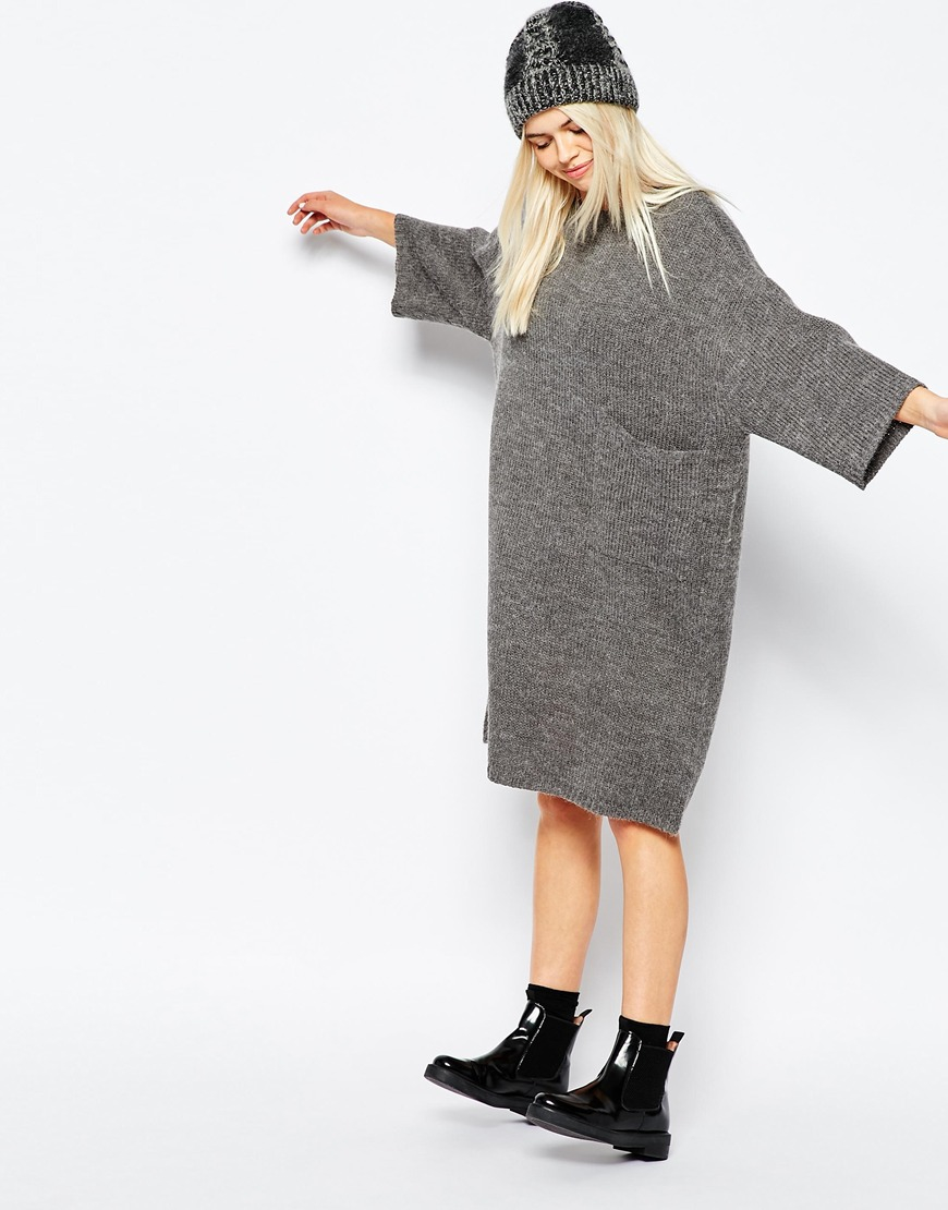 Monki Oversized Knitted Dress With Pocket Detail in Gray | Lyst