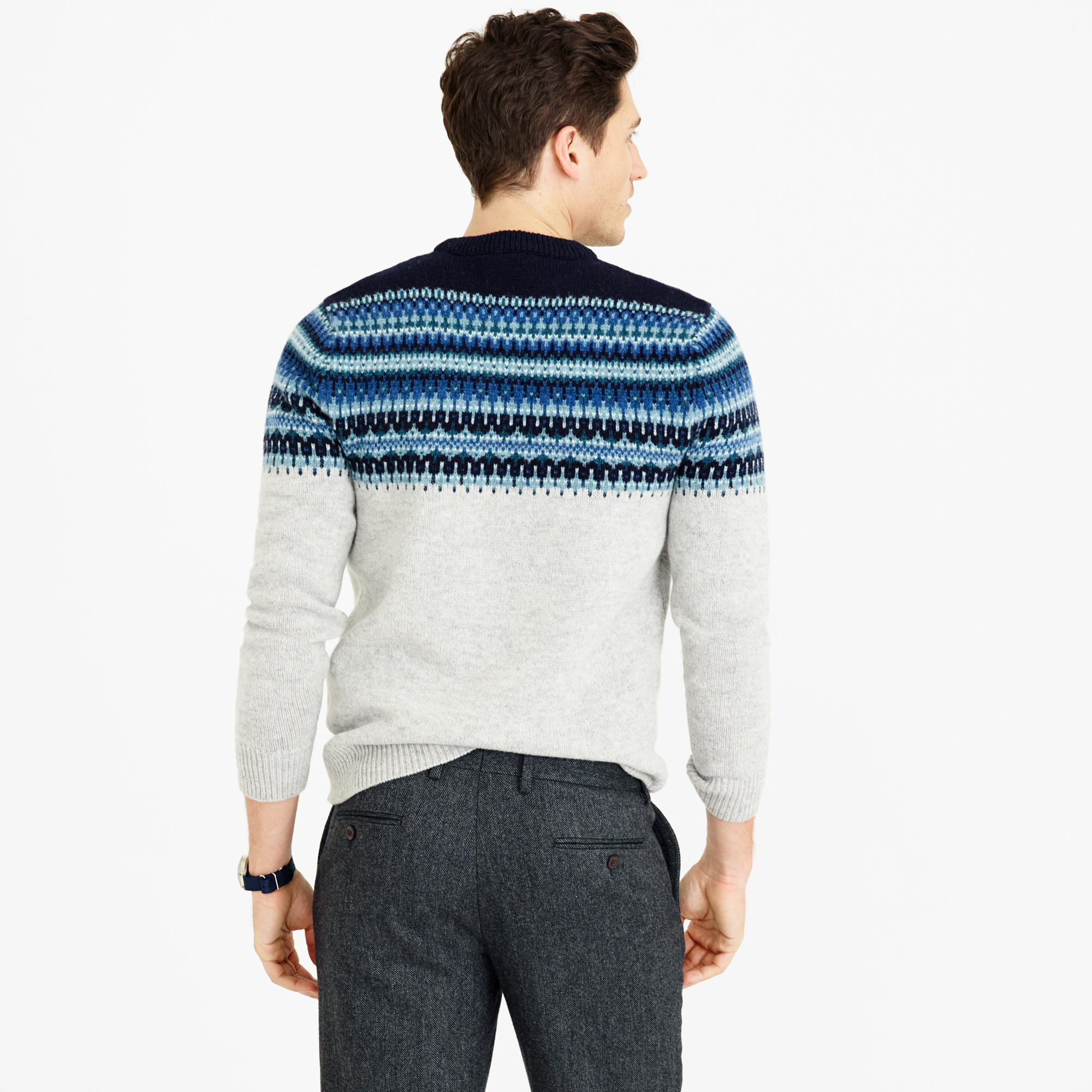 J.crew Lambswool Fair Isle Sweater In Navy in Blue for Men | Lyst