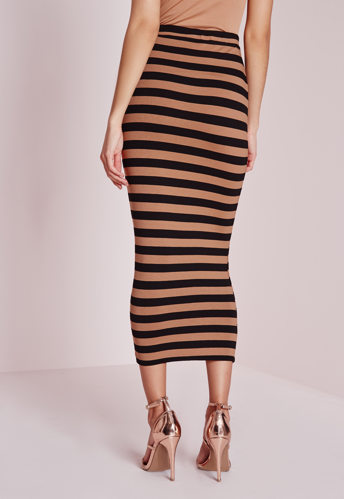missguided longline stripe midi skirt camel in brown lyst