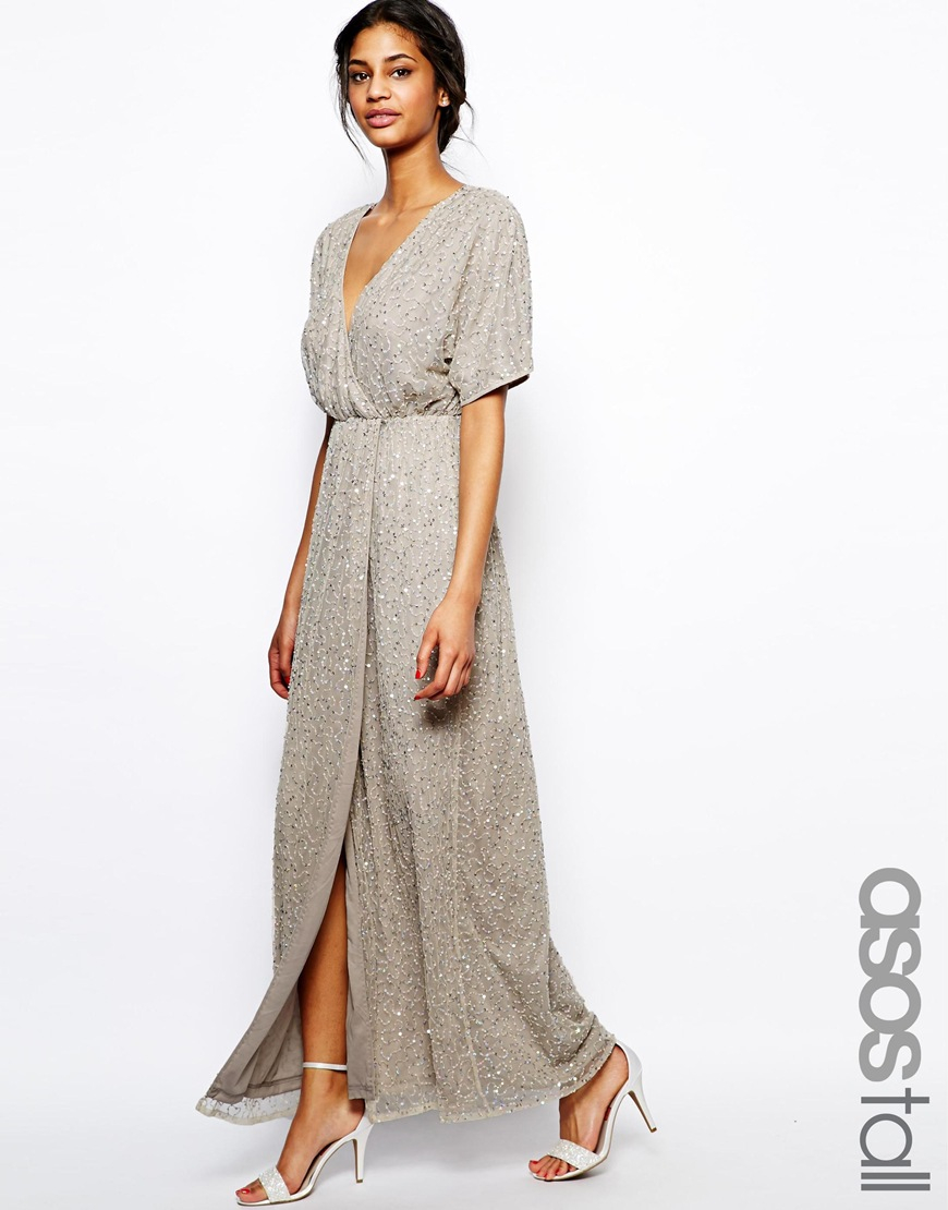 One shoulder kimono maxi dress