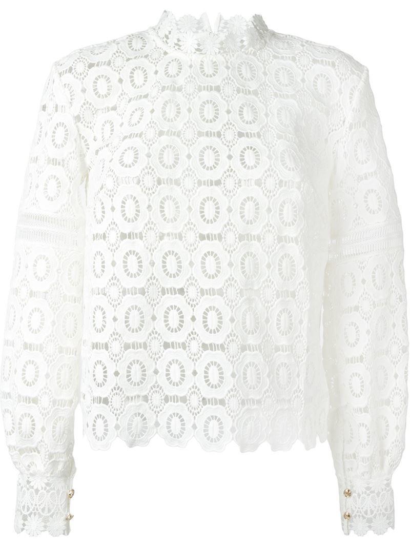 d554b56b14dd13 Self-Portrait Floral Crochet Lace Blouse in White - Lyst