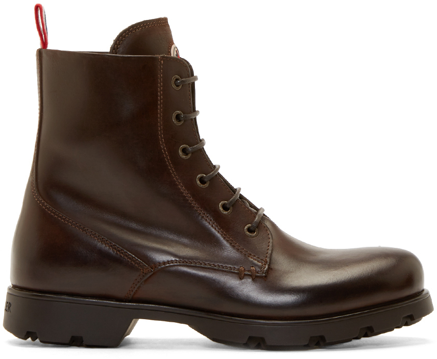 moncler lace up leather mid top boots in brown for lyst