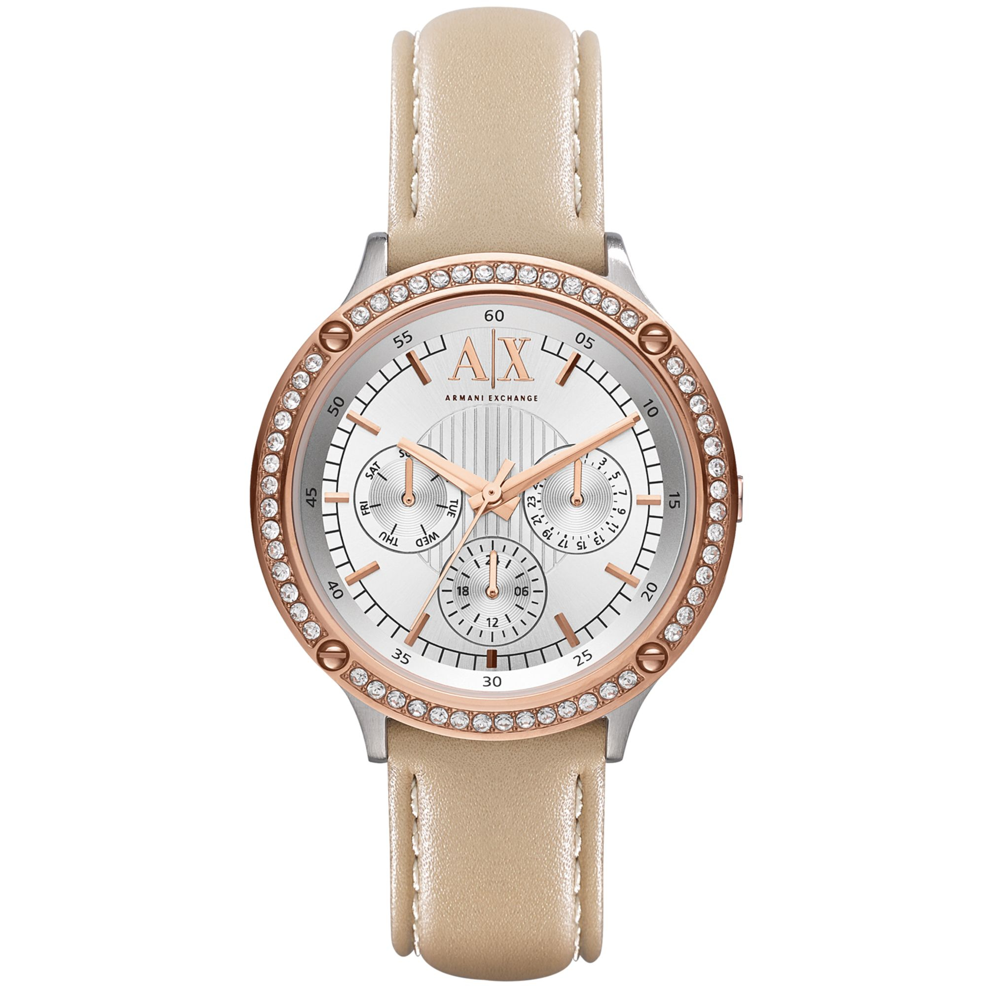 Lyst - Armani Exchange Womens Nude Leather Strap Watch 40Mm In Natural-9621