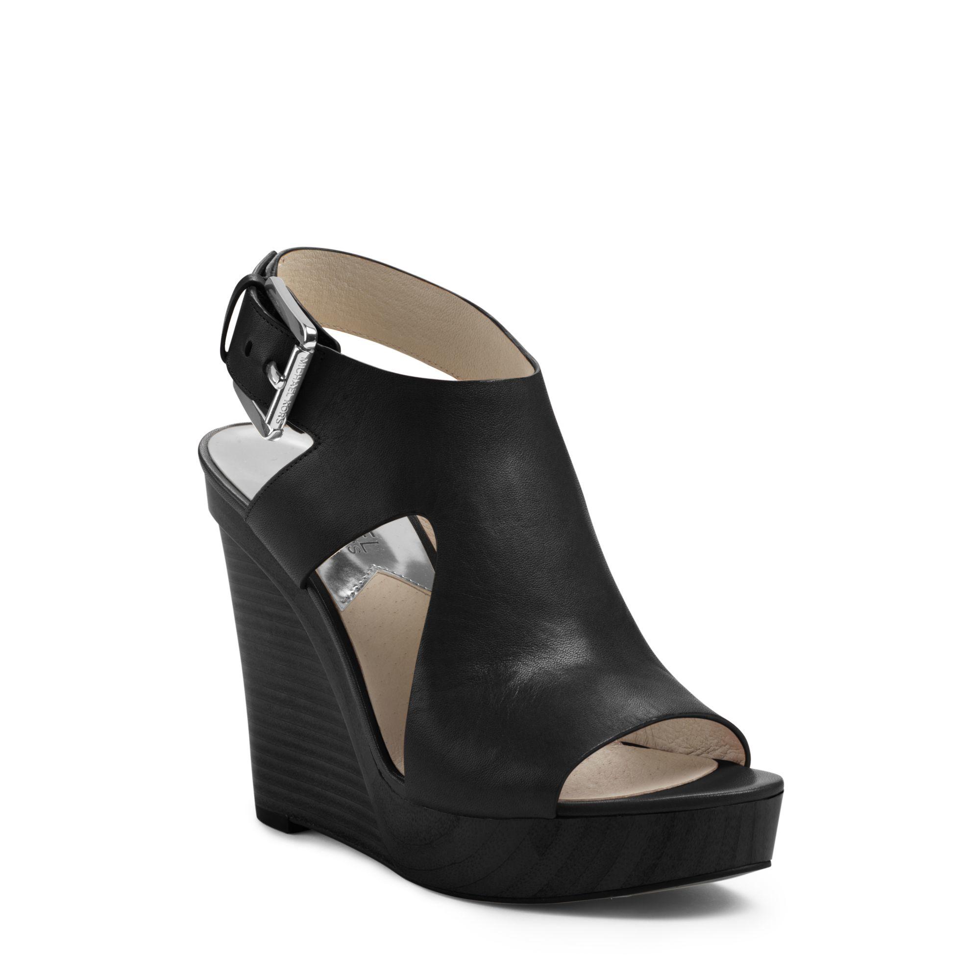 michael kors josephine leather wedge in black lyst