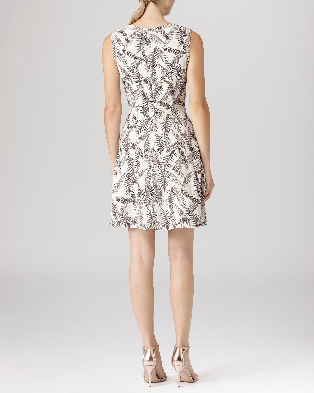 reiss dress - ivy sheer panel silk in natural