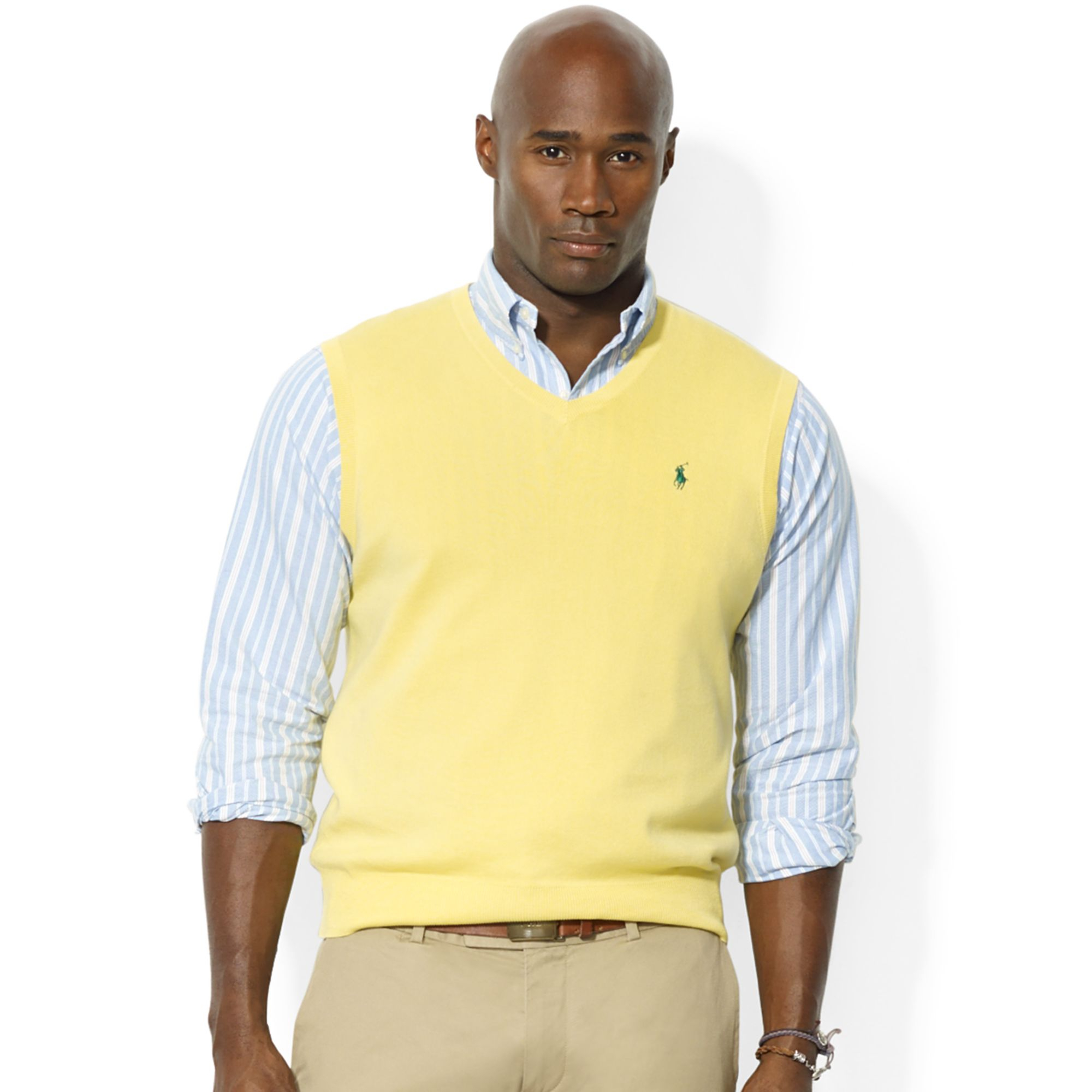 7796235f Ralph Lauren Yellow Polo Big and Tall V Neck Pima Cotton Vest for men