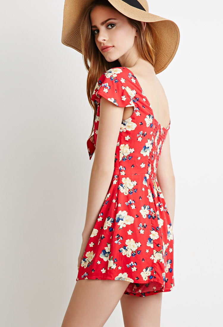e0dab81d8aa9 Lyst - Forever 21 Self-tie Floral Romper in Red