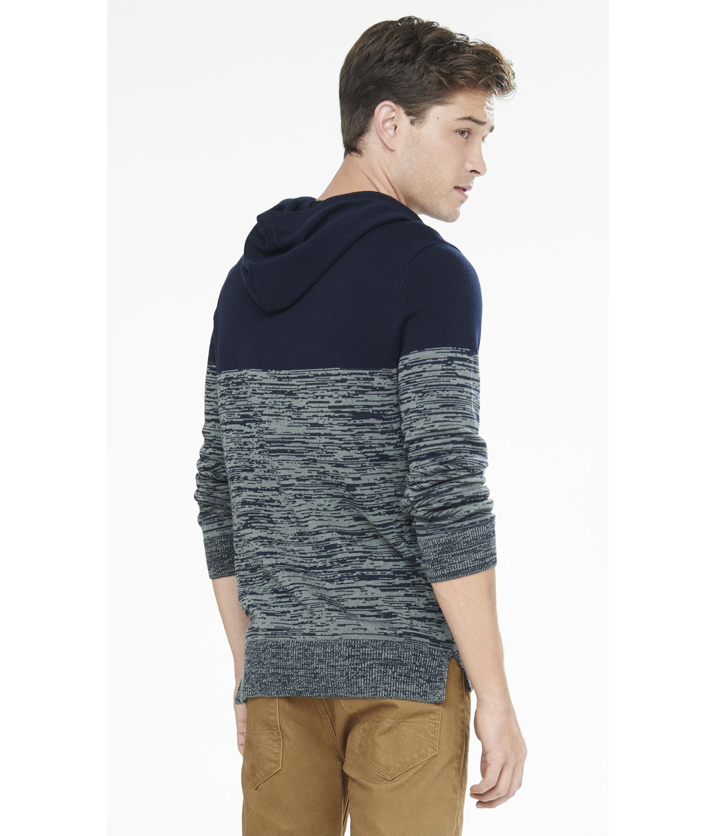 Express Color Block Marled Hooded Sweater in Blue for Men | Lyst