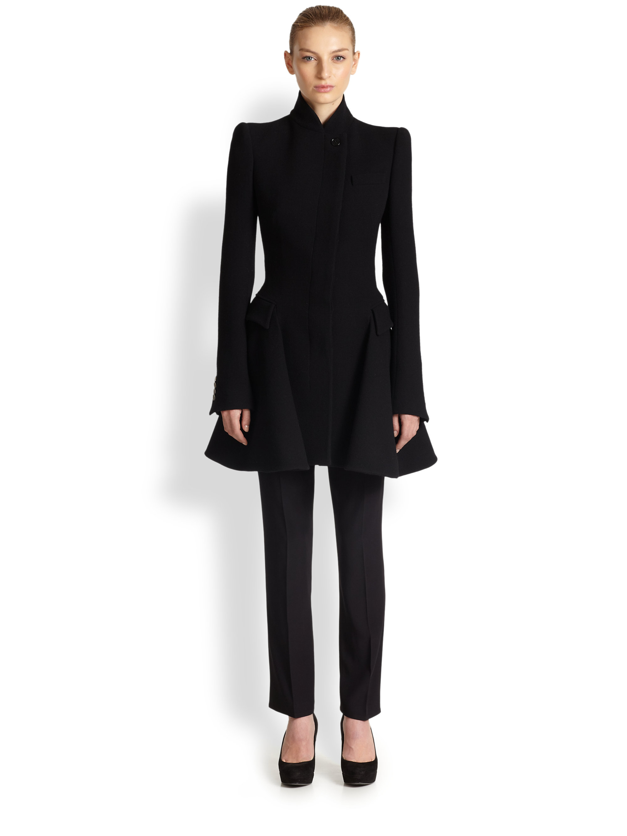 Alexander Mcqueen Wool Coat Dress In Black Lyst