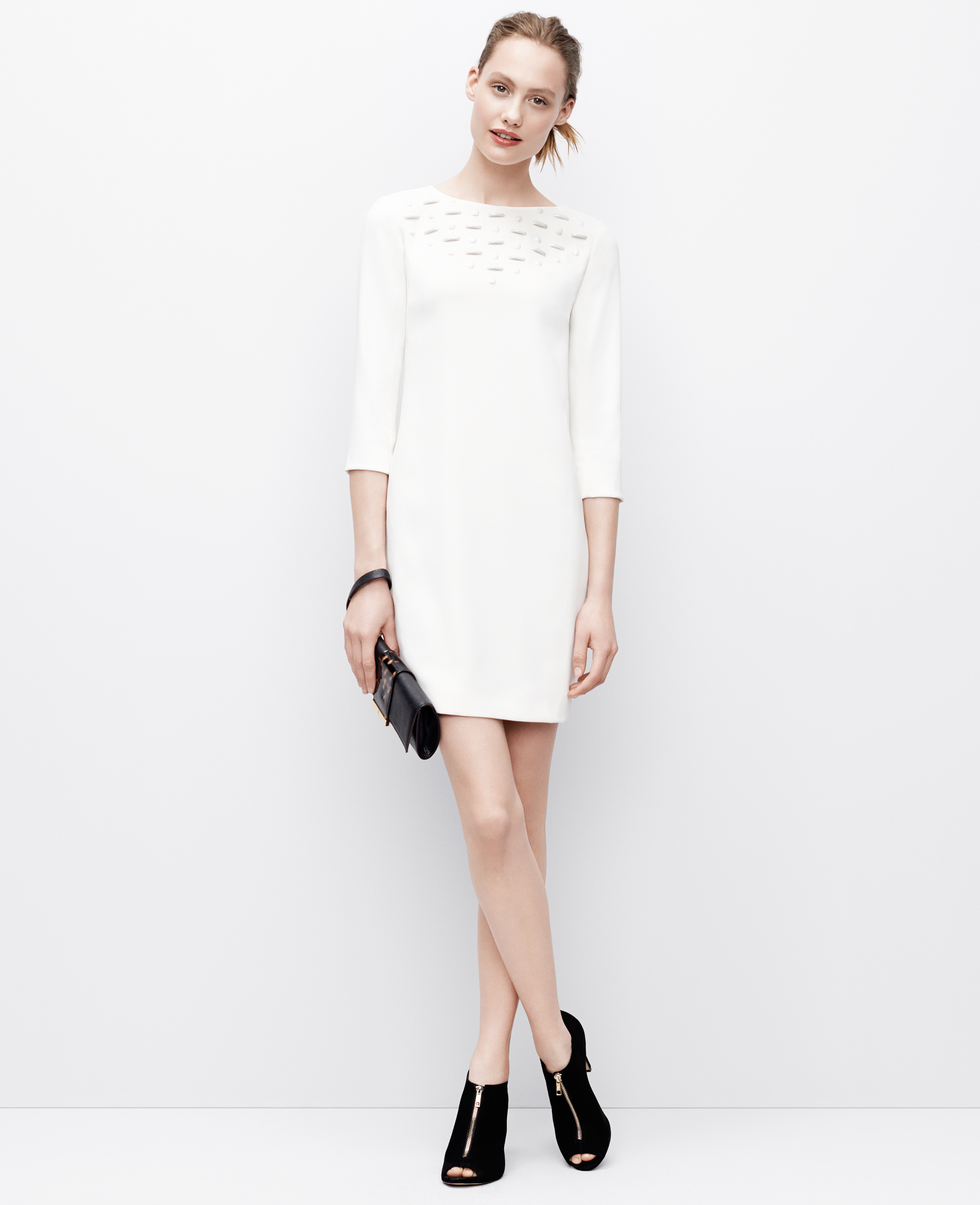 c6b65e67a2 Ann Taylor Petite Embellished Stone Dress in White - Lyst