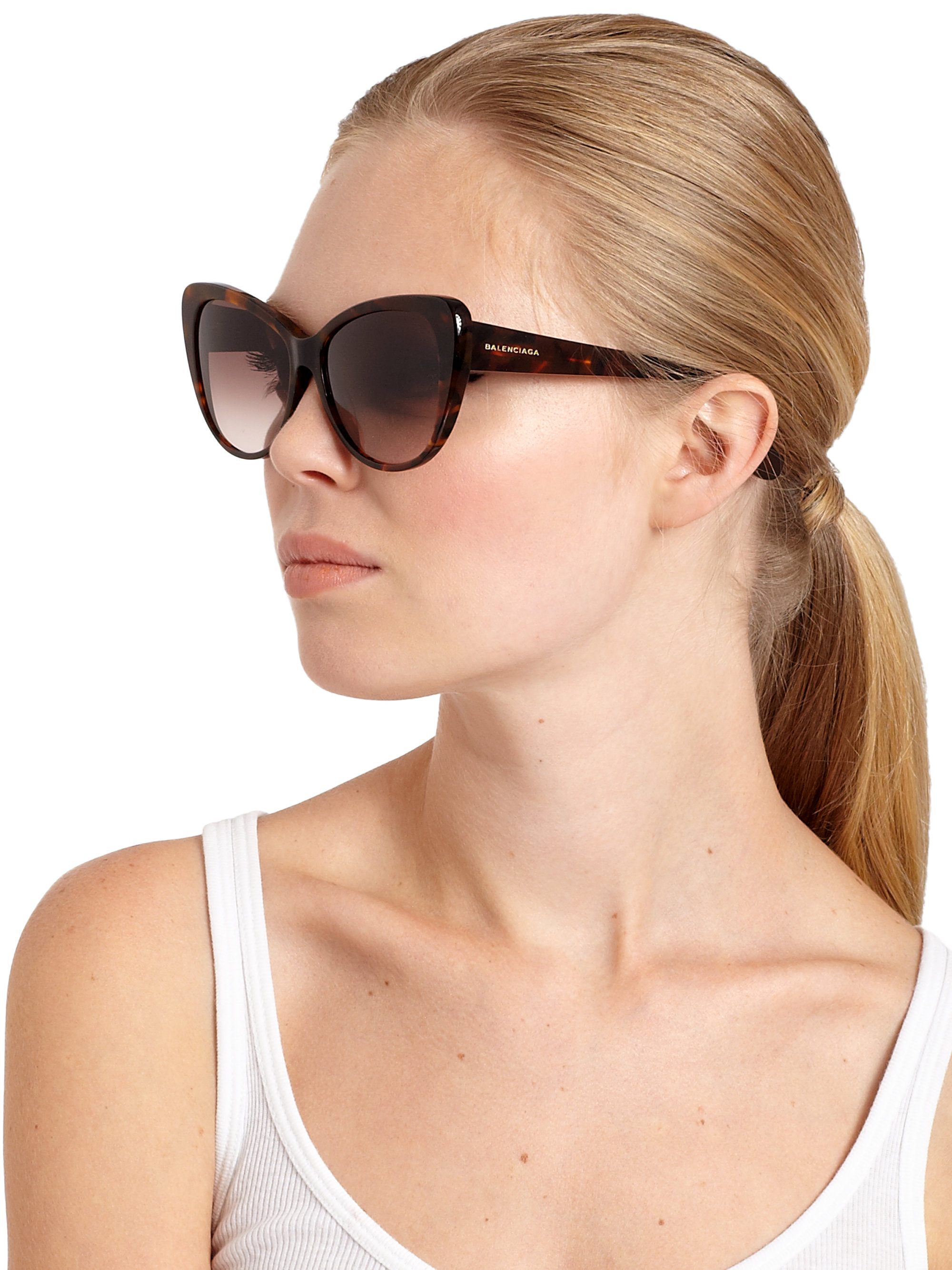 a7a0c570075c0 Lyst - Balenciaga 57mm Tortoiseshell Acetate Cat  39 s-eye Sunglasses in  Brown