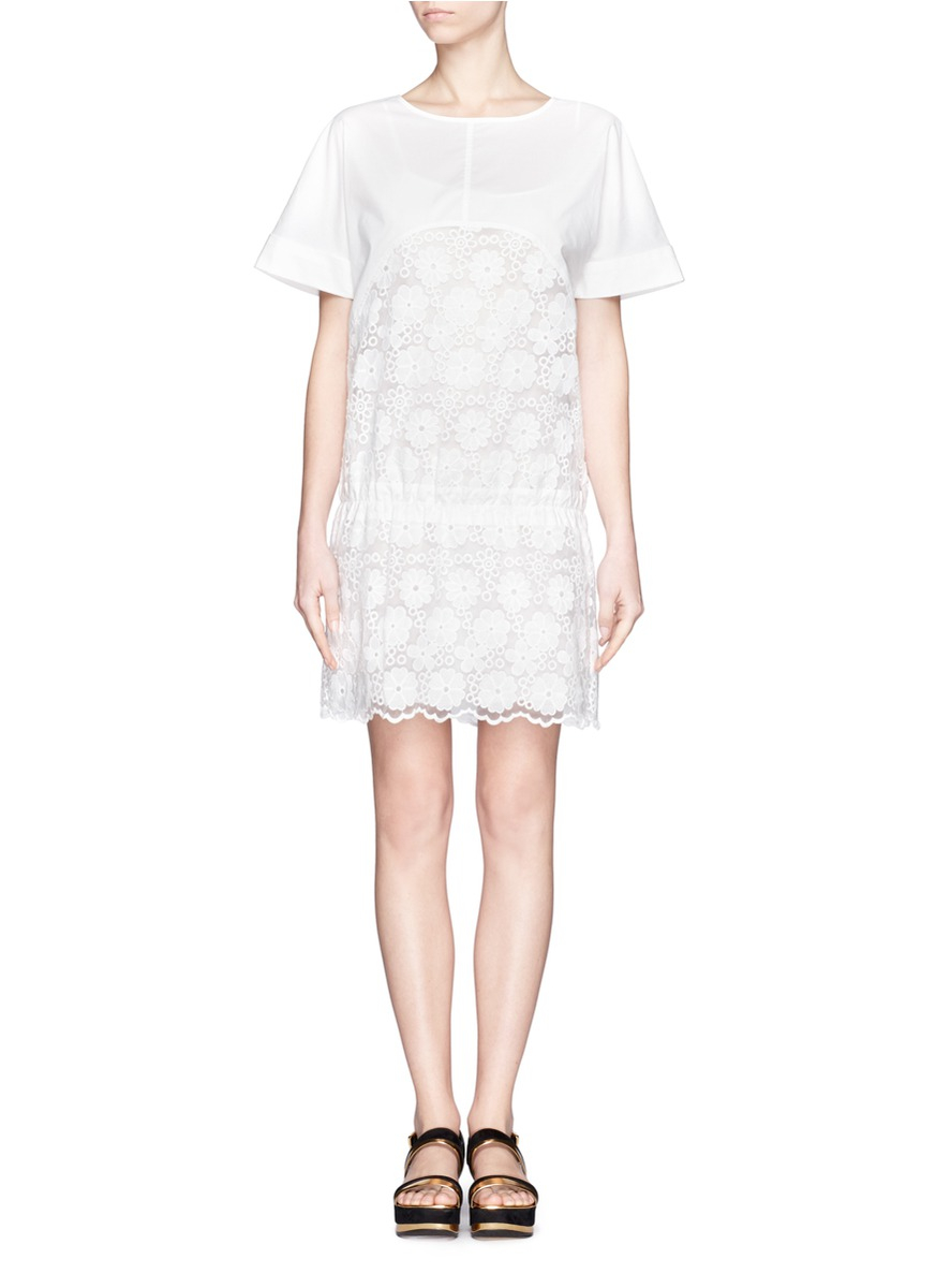 See by chloé floral embroidered organza insert dress in