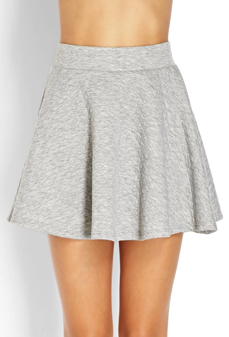 forever 21 quilted skater skirt in gray lyst