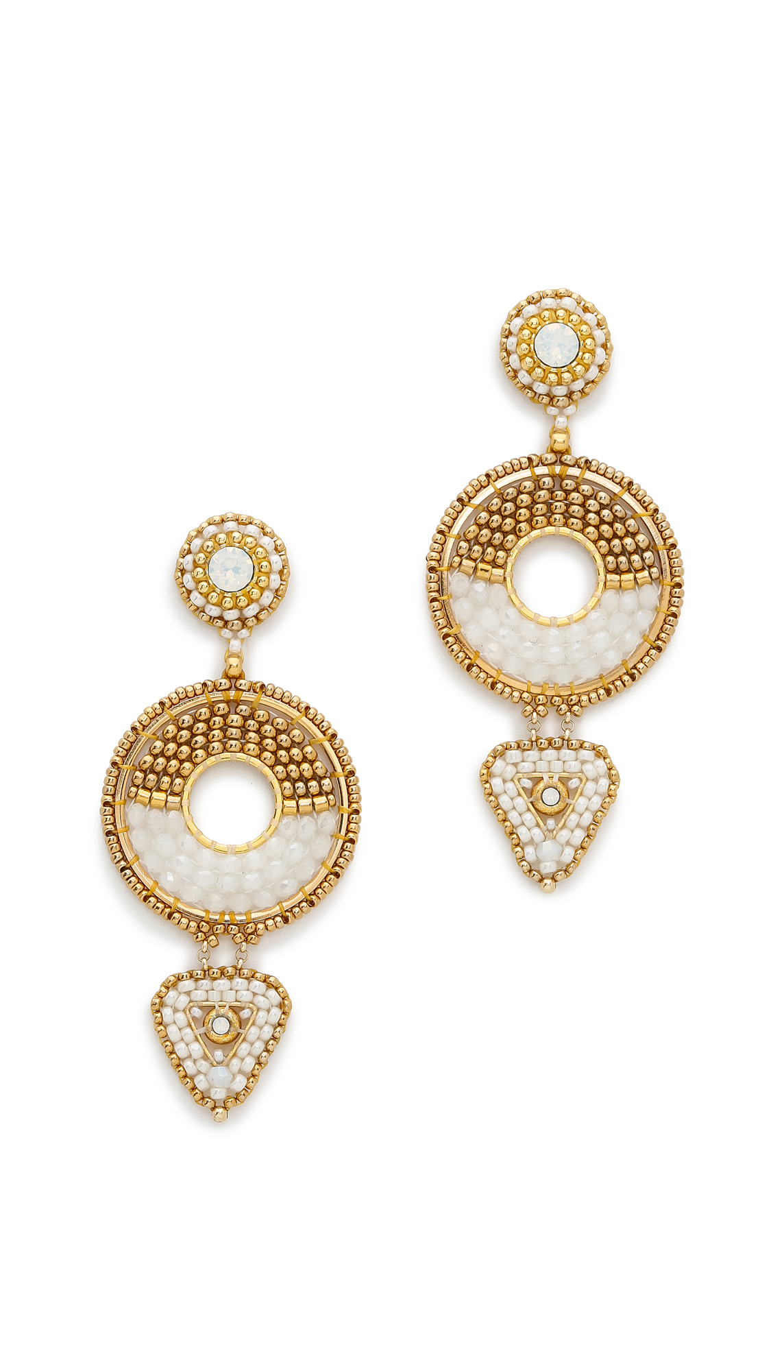 Lyst - Miguel ases Meredith Earrings - Gold/White in Metallic