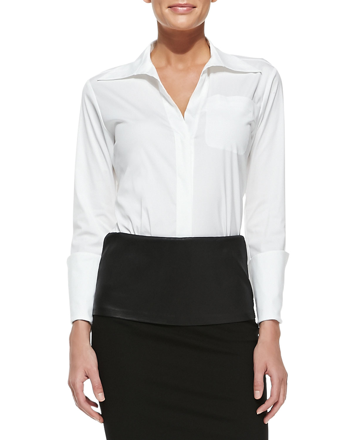 Donna karan new york tailored menswear shirt with long for New york and company dress shirts