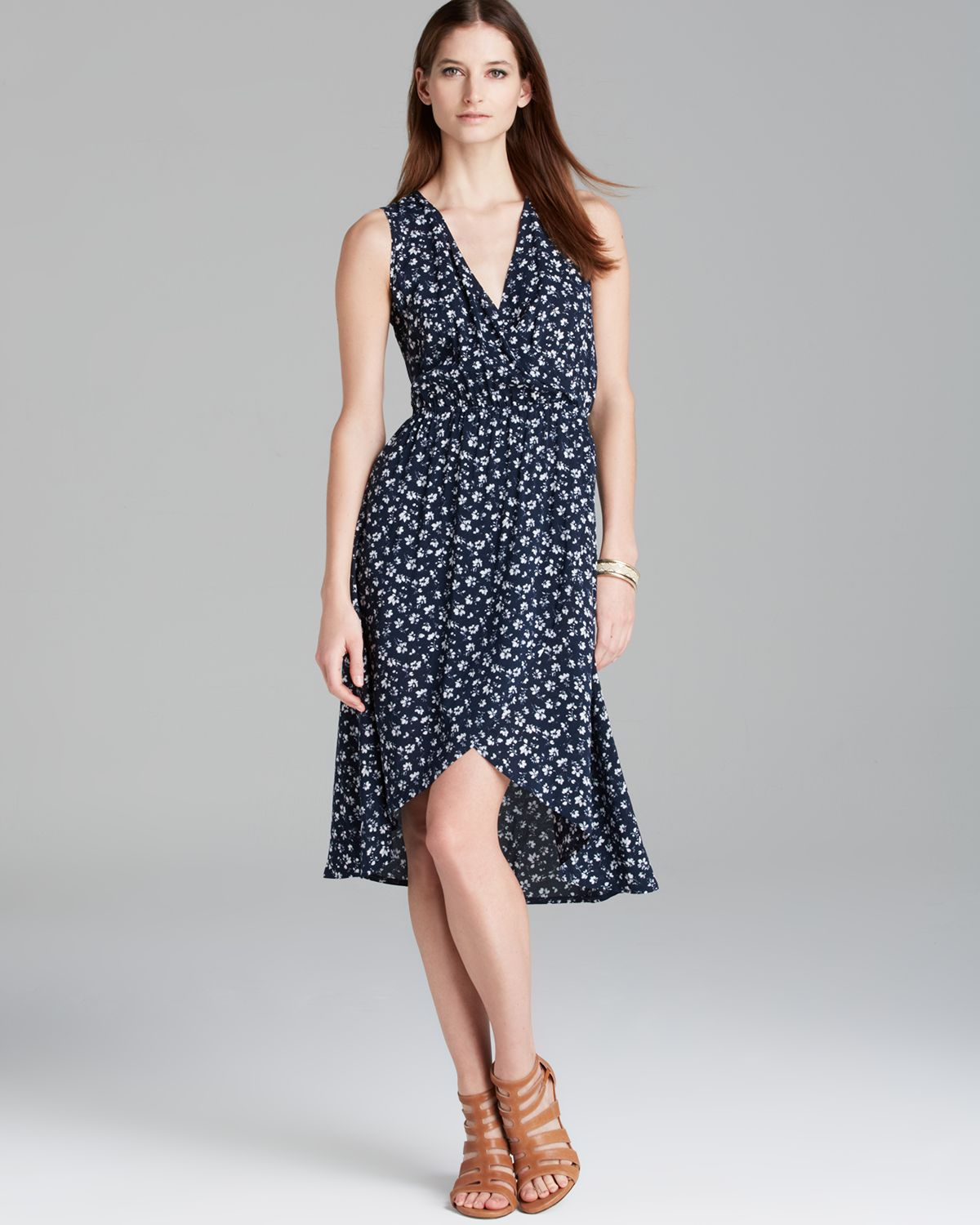 d469237d5 Two By Vince Camuto Sleeveless Floral Wrap Dress in Blue - Lyst