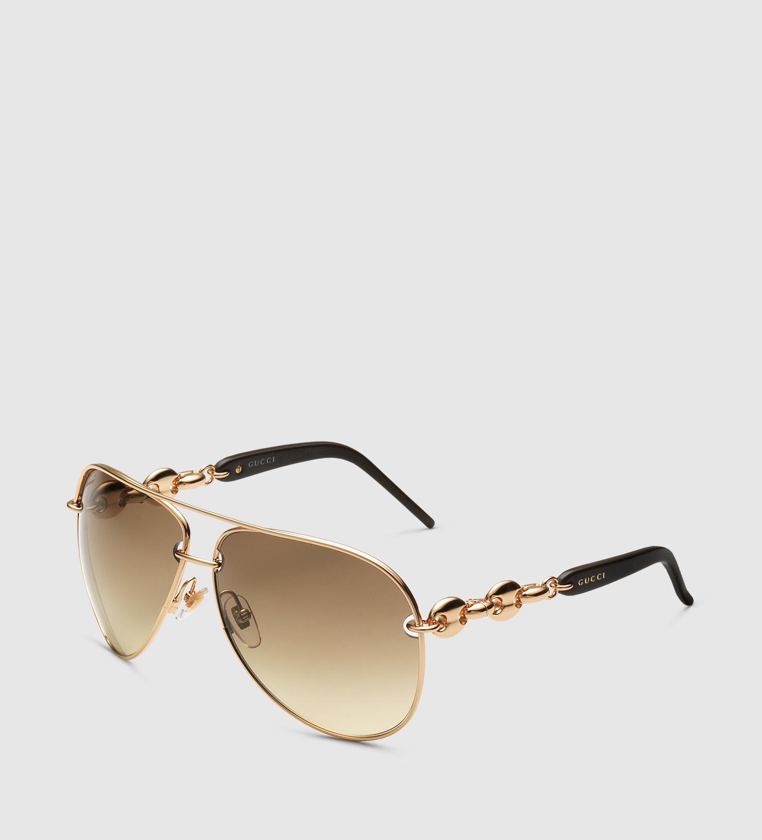 d0449e29b0c Lyst - Gucci Copper Gold Aviator Sunglasses in Brown