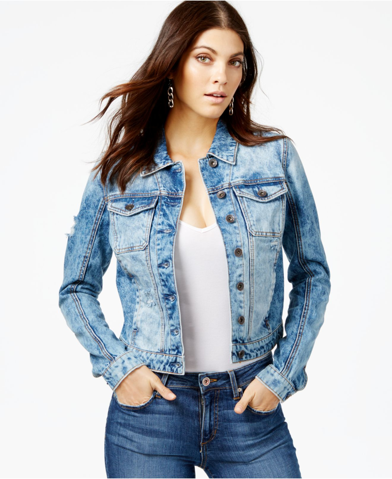Lyst Guess Brittney Ripped Denim Jacket In Blue