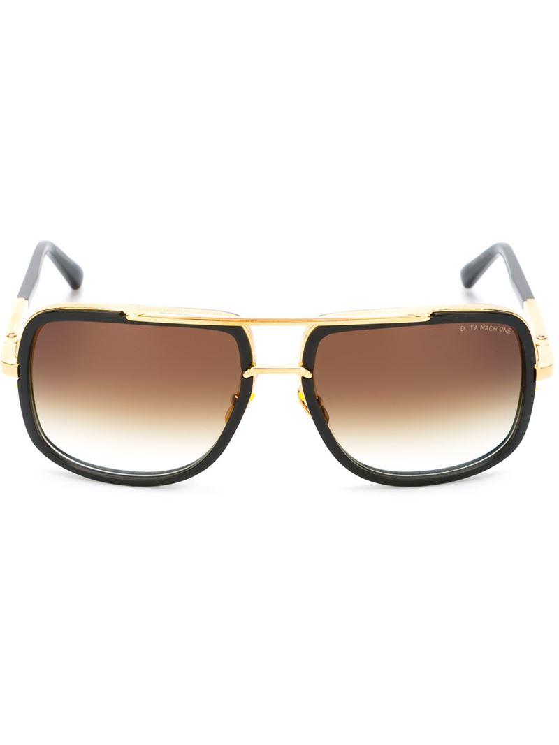 Square Gold Frame Sunglasses : Dita eyewear Square Frame Sunglasses in Black Lyst
