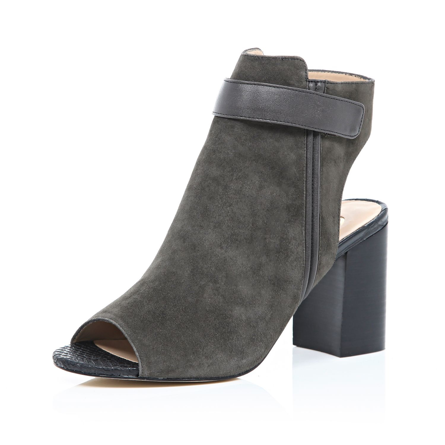 River Island Grey Suede Peep Toe Heeled Ankle Boots in Gray - Lyst acf6657b8317