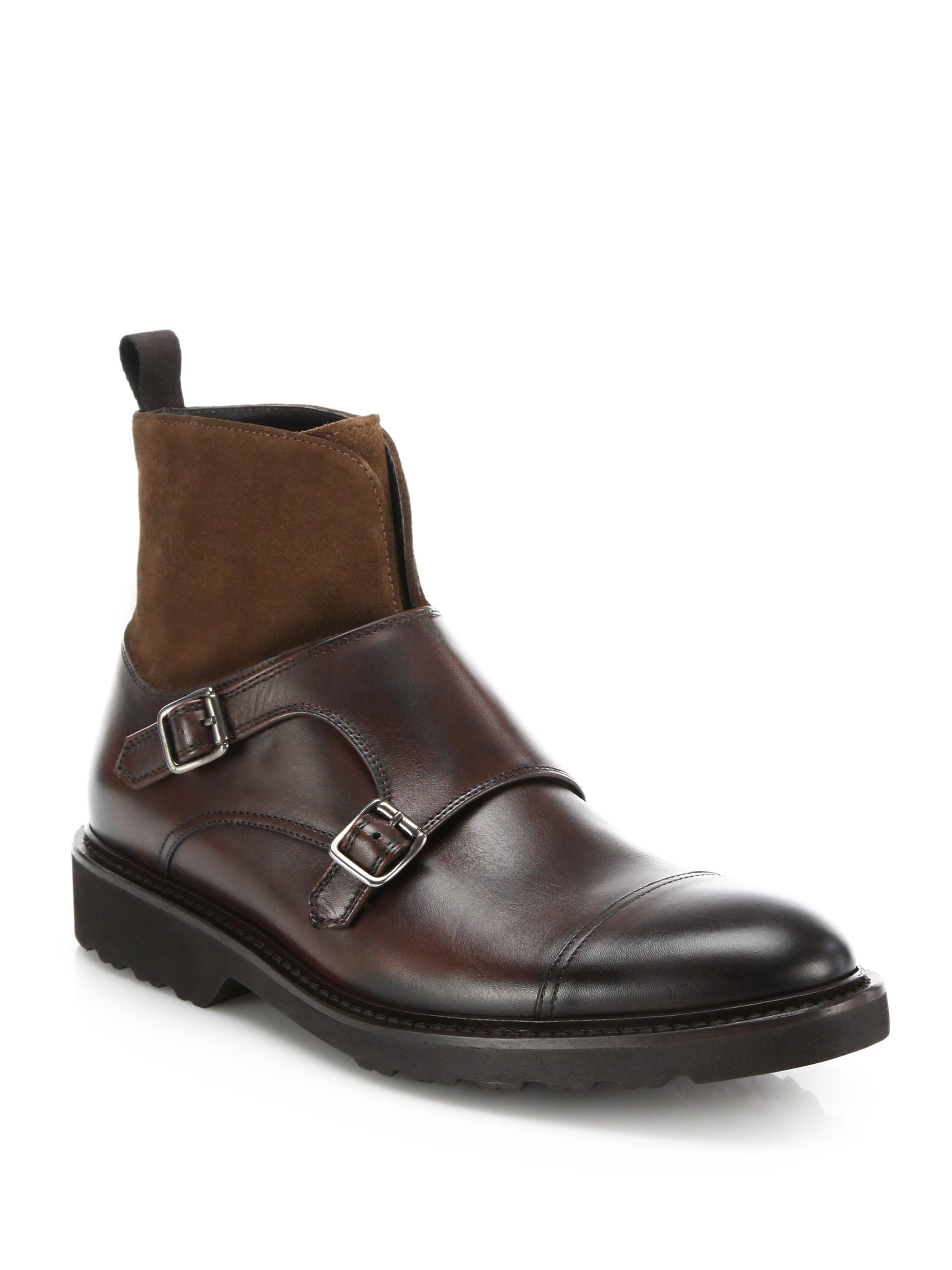 To boot Sean Mixed-media Double Monk-strap Boots in Brown