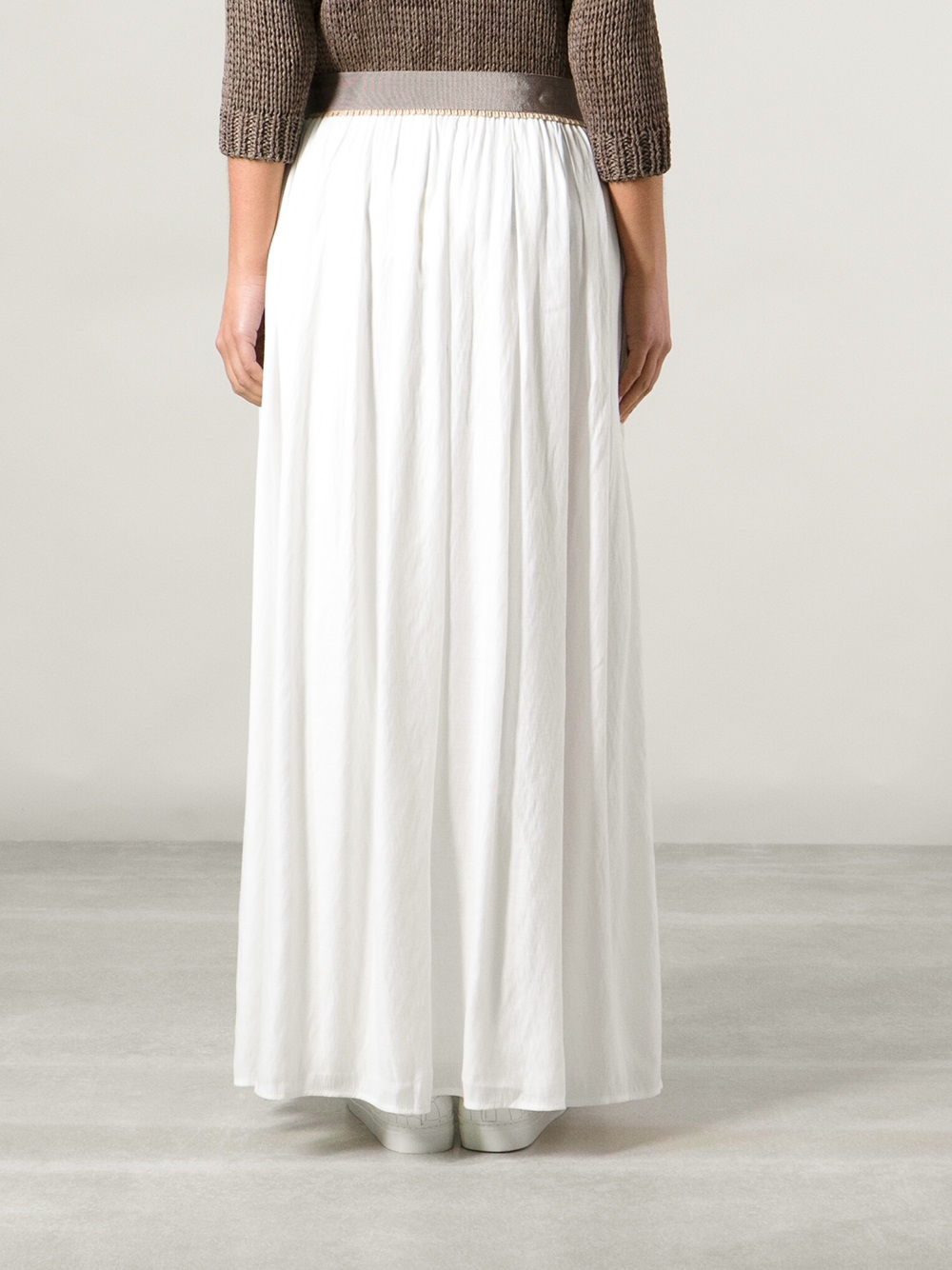 Long White Pleated Skirt