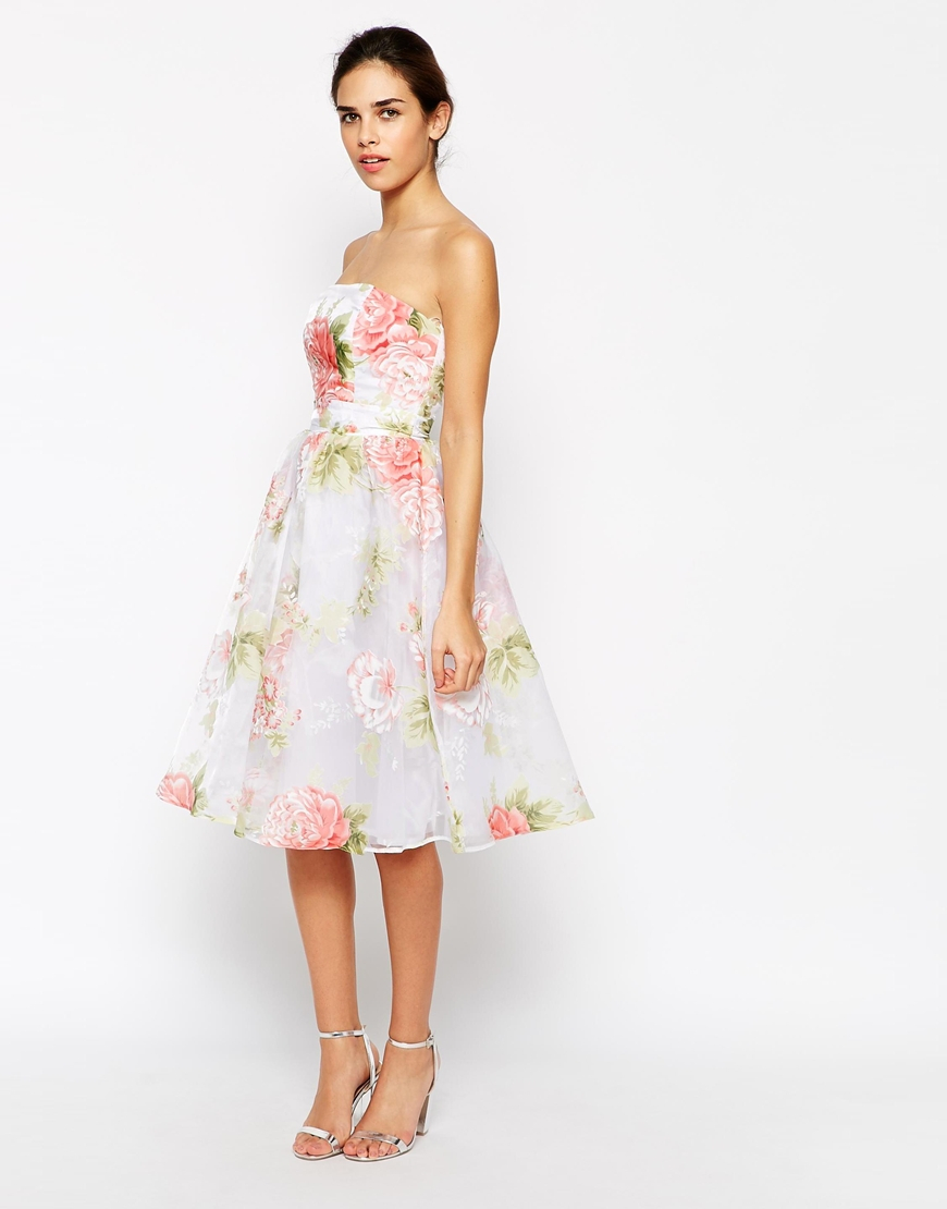 Elise Ryan Bandeau Midi Prom Dress In Organza Floral Print