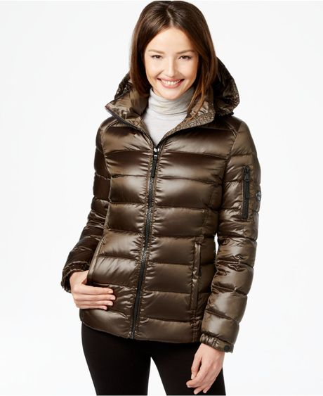 Calvin Klein Quilted Down Puffer Coat In Green Pearlized