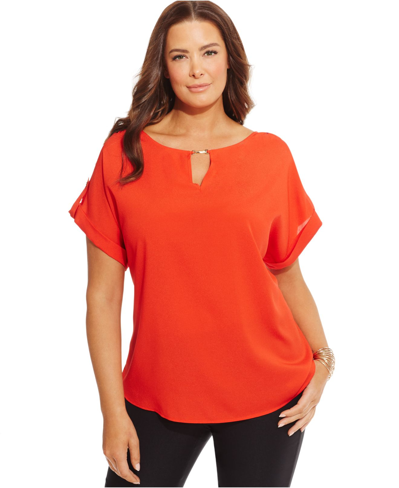 97d236d17665a7 Calvin Klein Plus Size Short-sleeve Keyhole Top in Red - Lyst