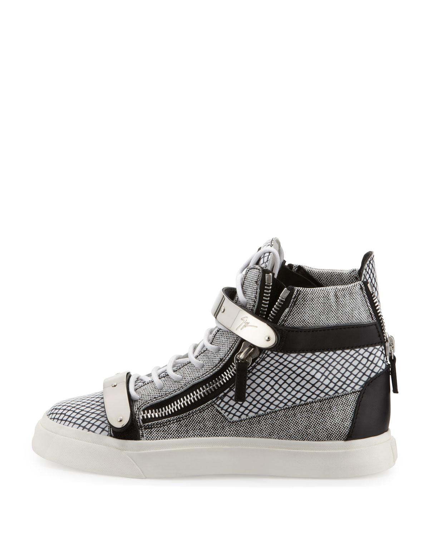 giuseppe zanotti printed zip buckle hightop sneaker in white black lyst. Black Bedroom Furniture Sets. Home Design Ideas