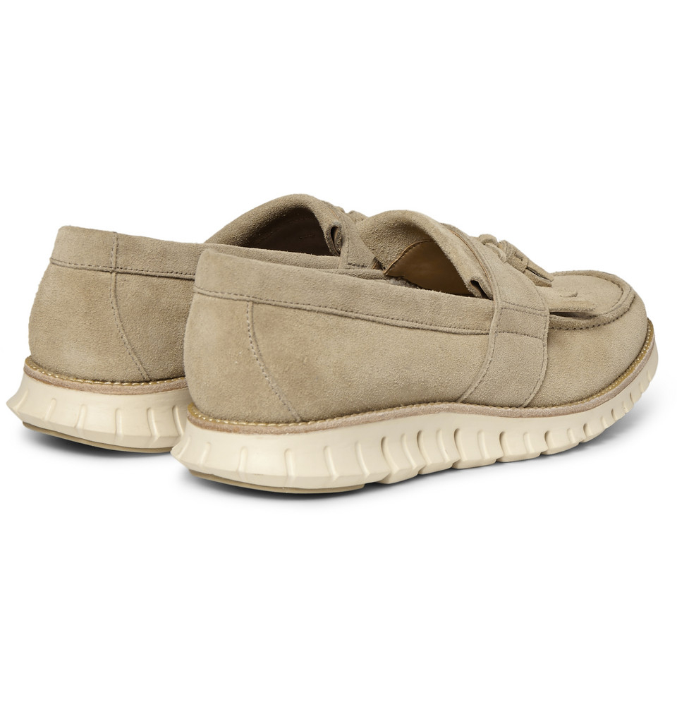 4a79bf510f5 Lyst - Cole Haan Zerogrand Suede Tassel Loafers in Natural for Men