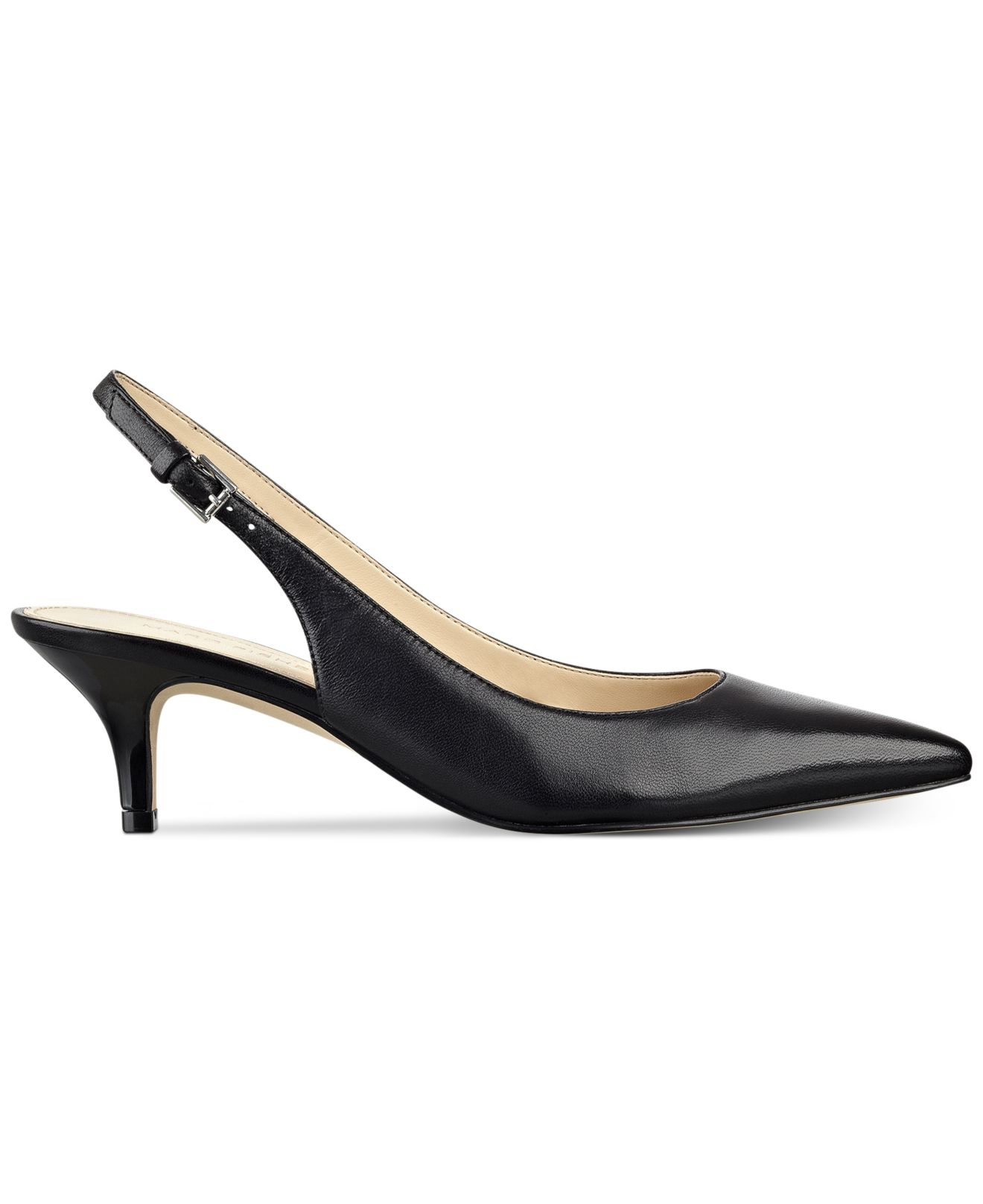 Black Patent Kitten Heel Slingback Shoes