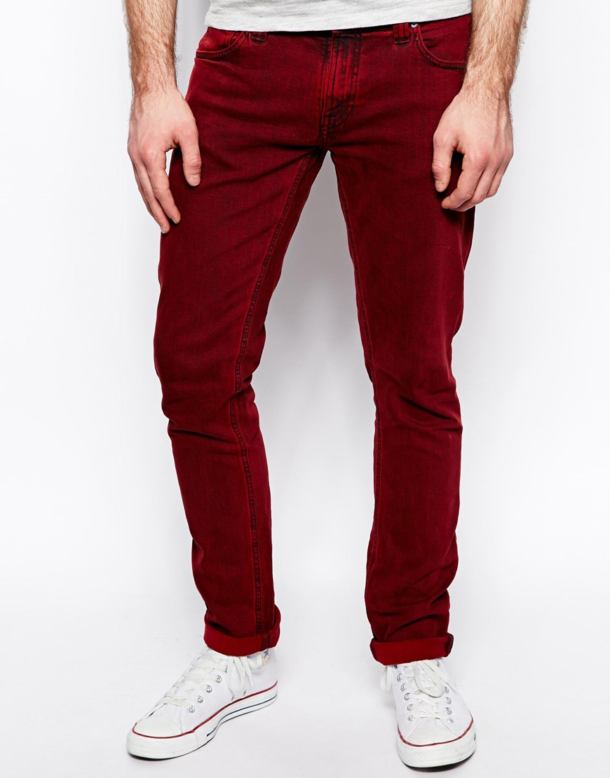 lyst nudie jeans tight long john skinny fit red overdye. Black Bedroom Furniture Sets. Home Design Ideas