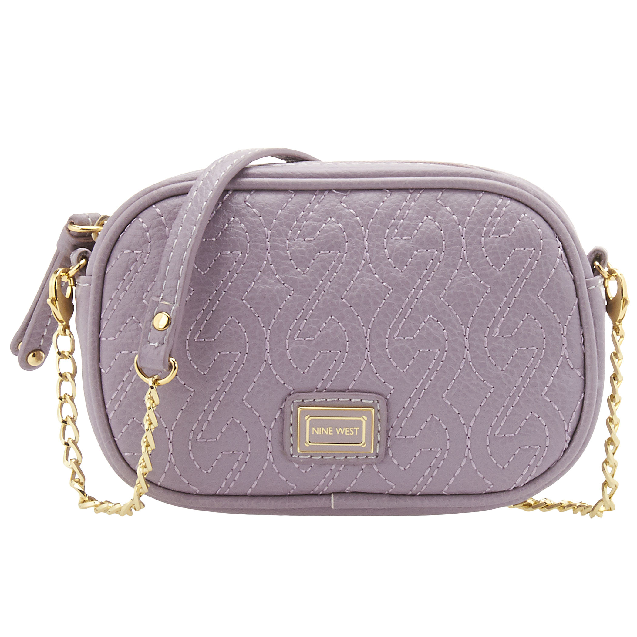 Nine West Quilted Chain Crossbody Bag In Pink Hyacinth