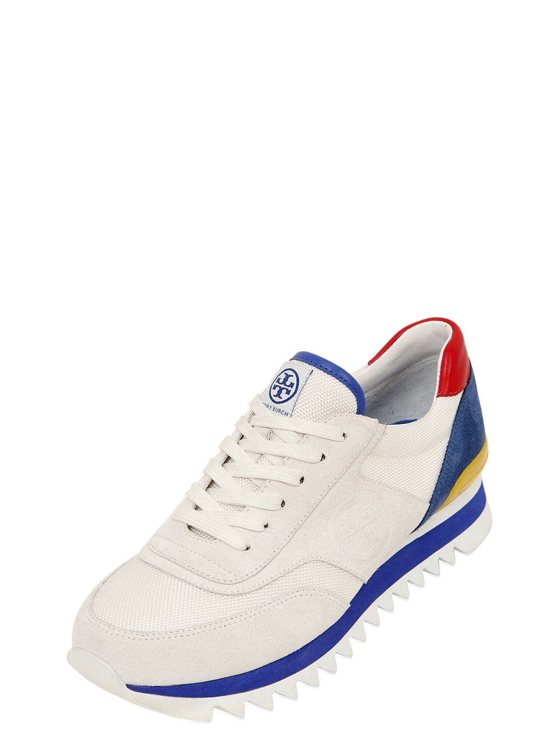 83ad79a3af3 Tory Burch 20mm Sawtooth Suede   Mesh Sneakers in White - Lyst
