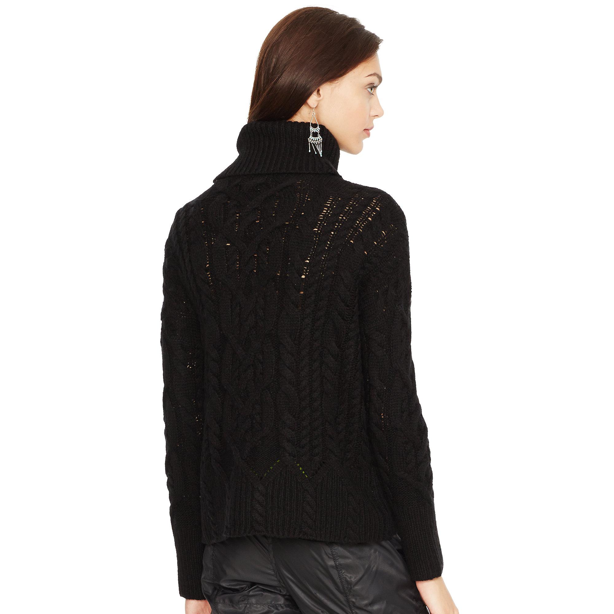 Polo Ralph Lauren Aran-Knit Turtleneck Sweater in Black - Lyst