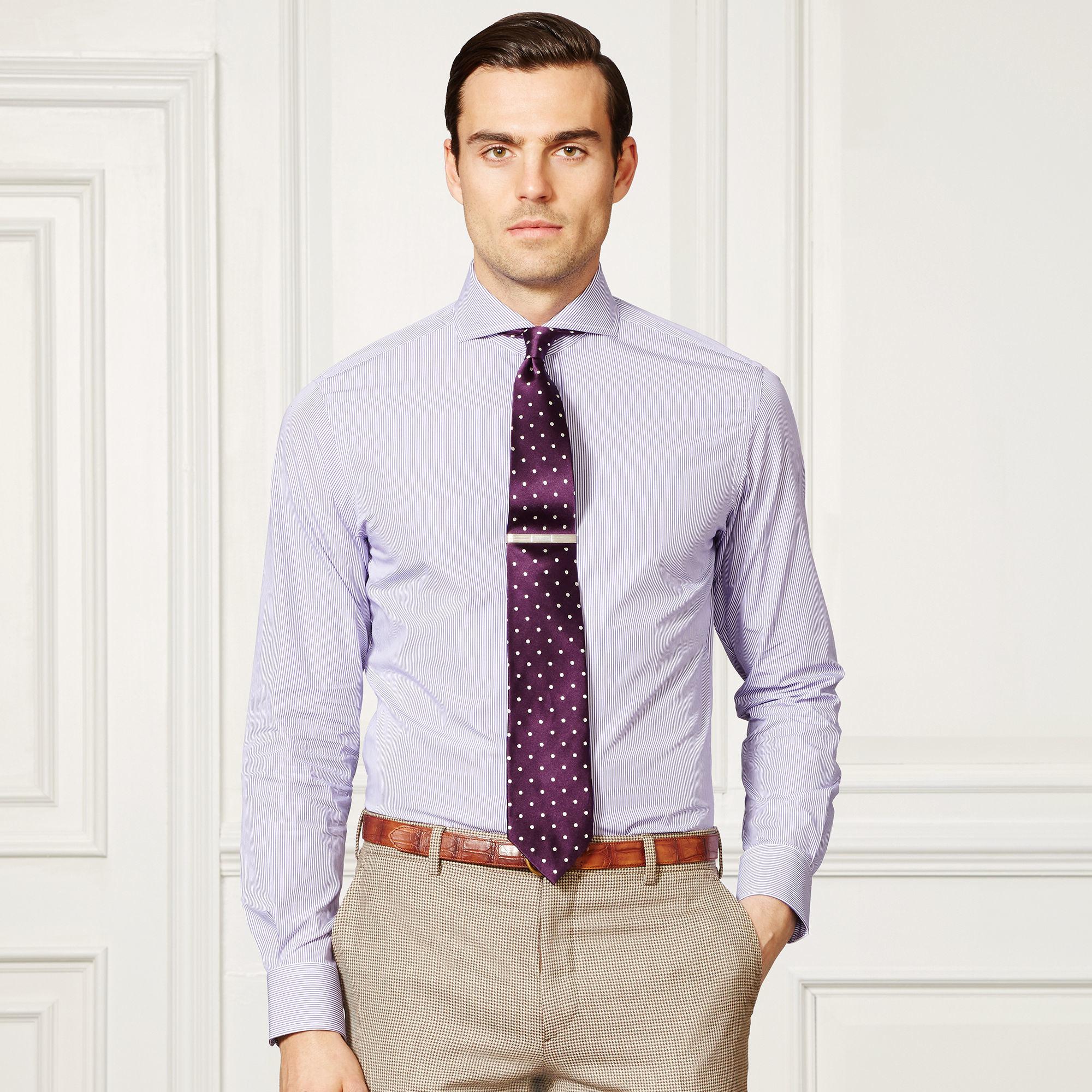 cba9fba128 Ralph Lauren Purple Label Keaton Striped Dress Shirt in Purple for ...