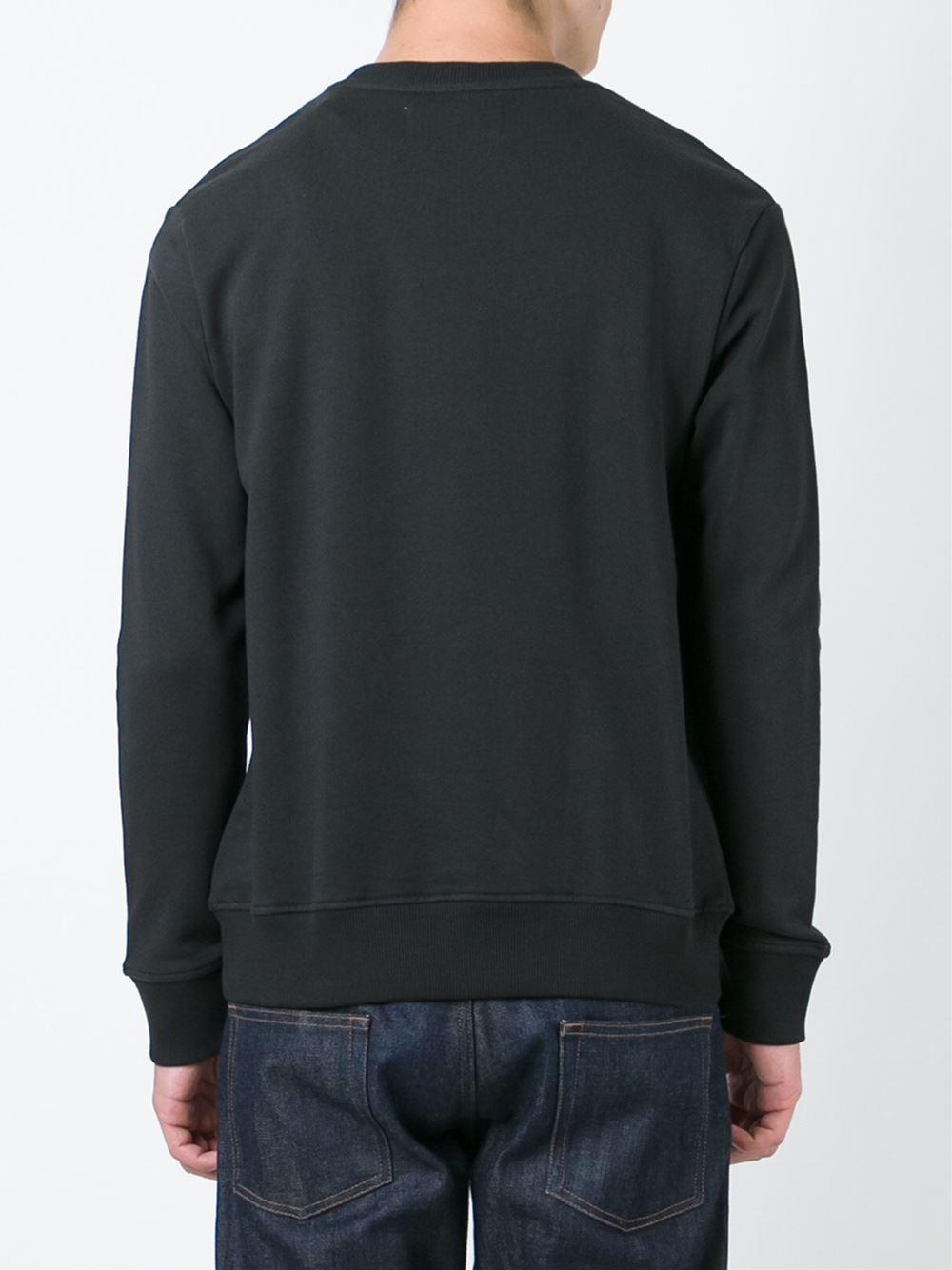 calvin klein jeans logo print sweatshirt in black for men. Black Bedroom Furniture Sets. Home Design Ideas
