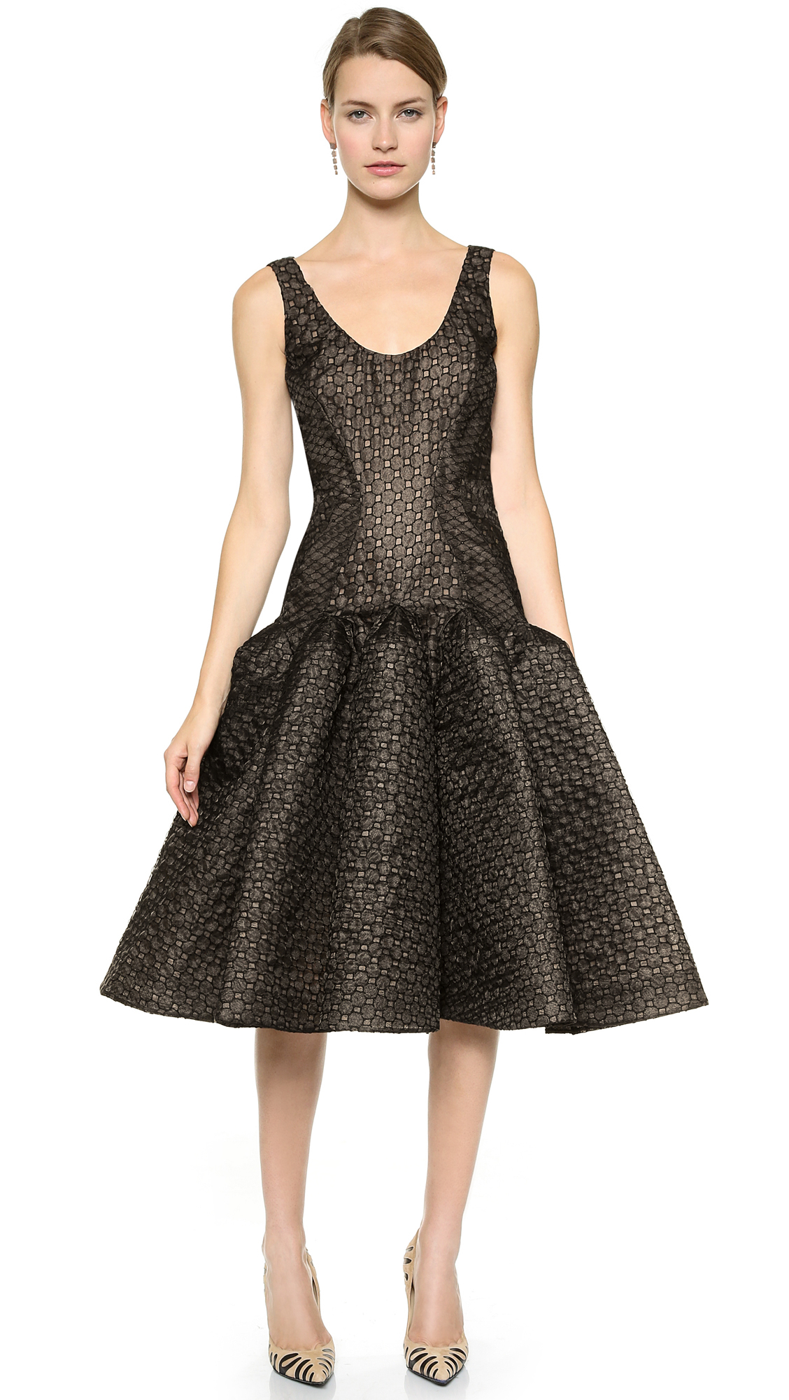 Zac posen Embroidered Organza Dress - Black/Nude in Black  Lyst