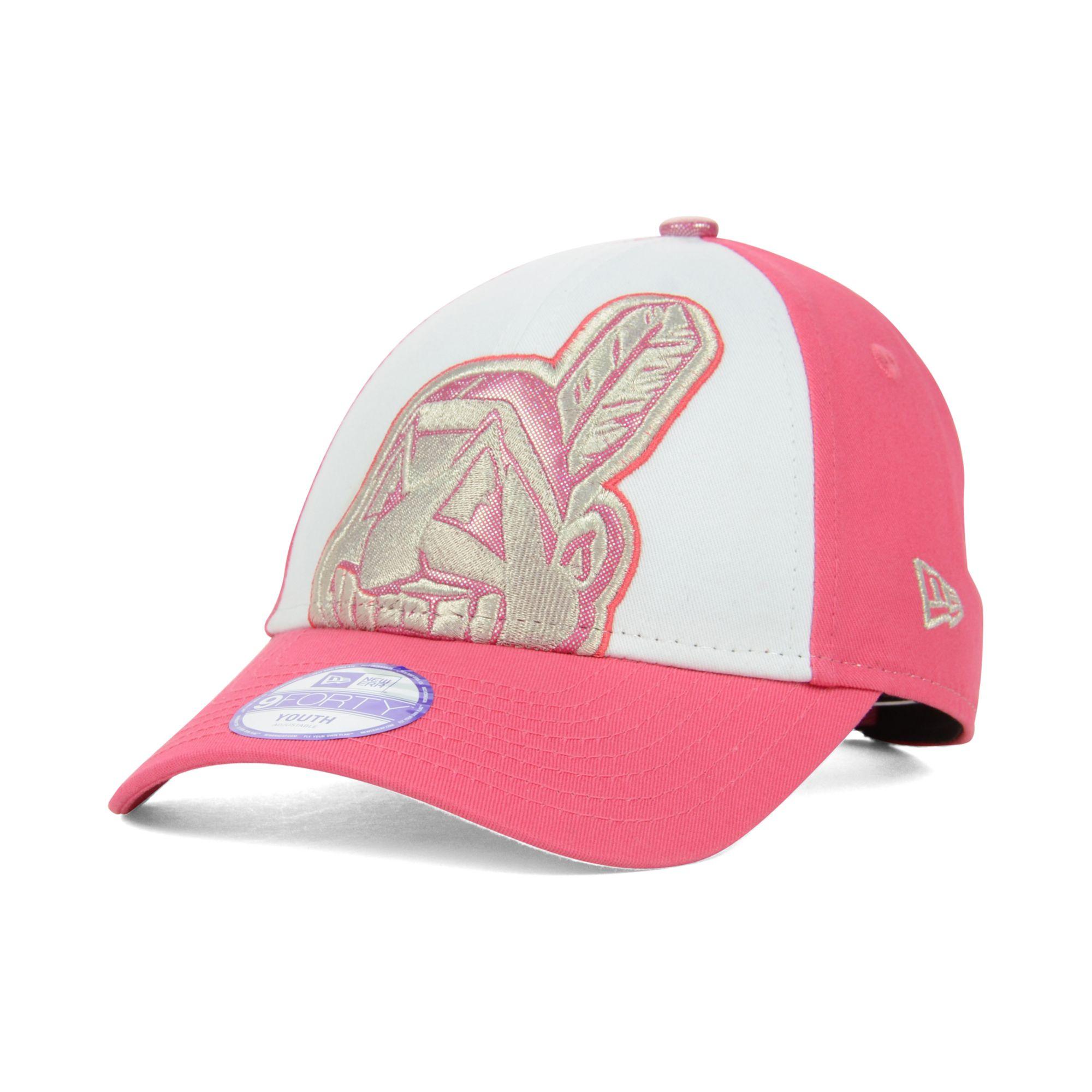 info for 83244 2db97 Women's Pink Kids Cleveland Indians Glitter Filler 9forty Cap