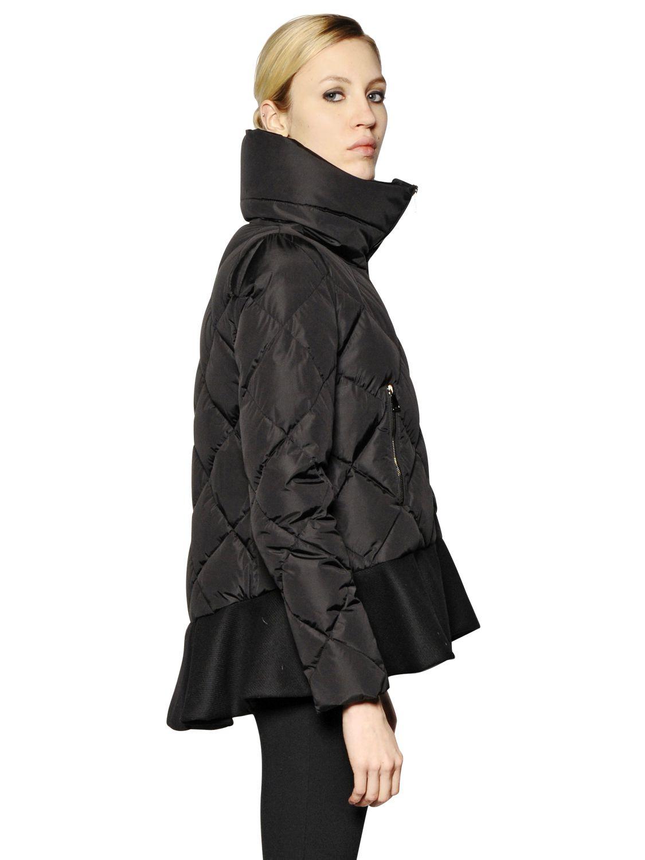 Moncler Vouglette Nylon Amp Wool Down Jacket In Black Lyst