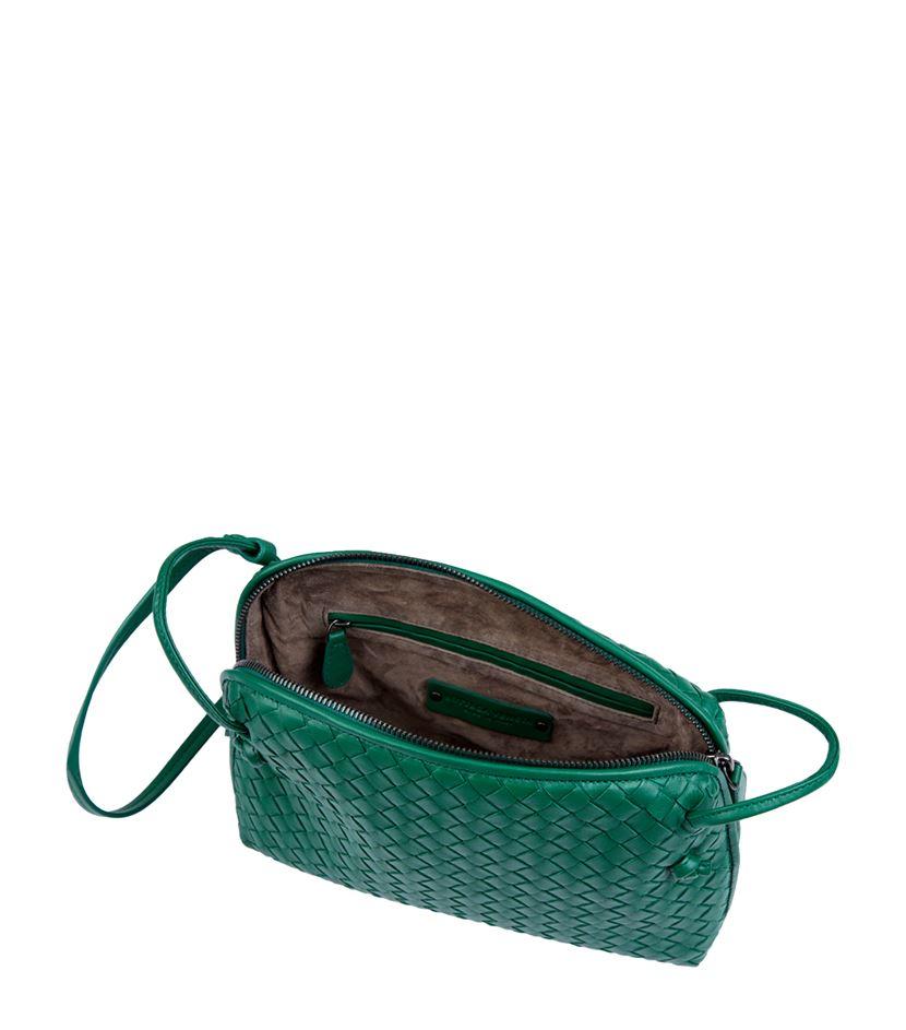 e064cbeafb Bottega Veneta Small Intrecciato Nappa Crossbody Bag in Green - Lyst