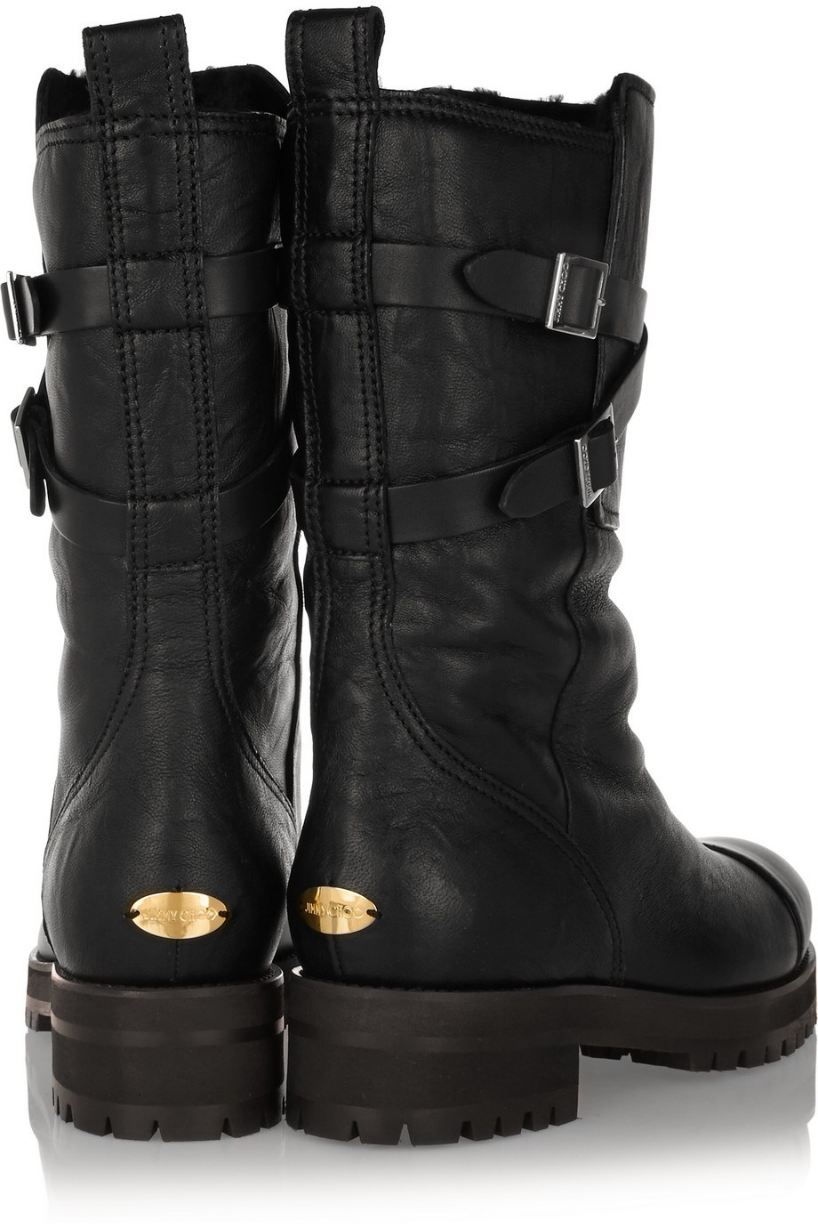 75c4a86d2bb9f Jimmy Choo Dwight Shearling-Lined Leather Biker Boots in Black - Lyst