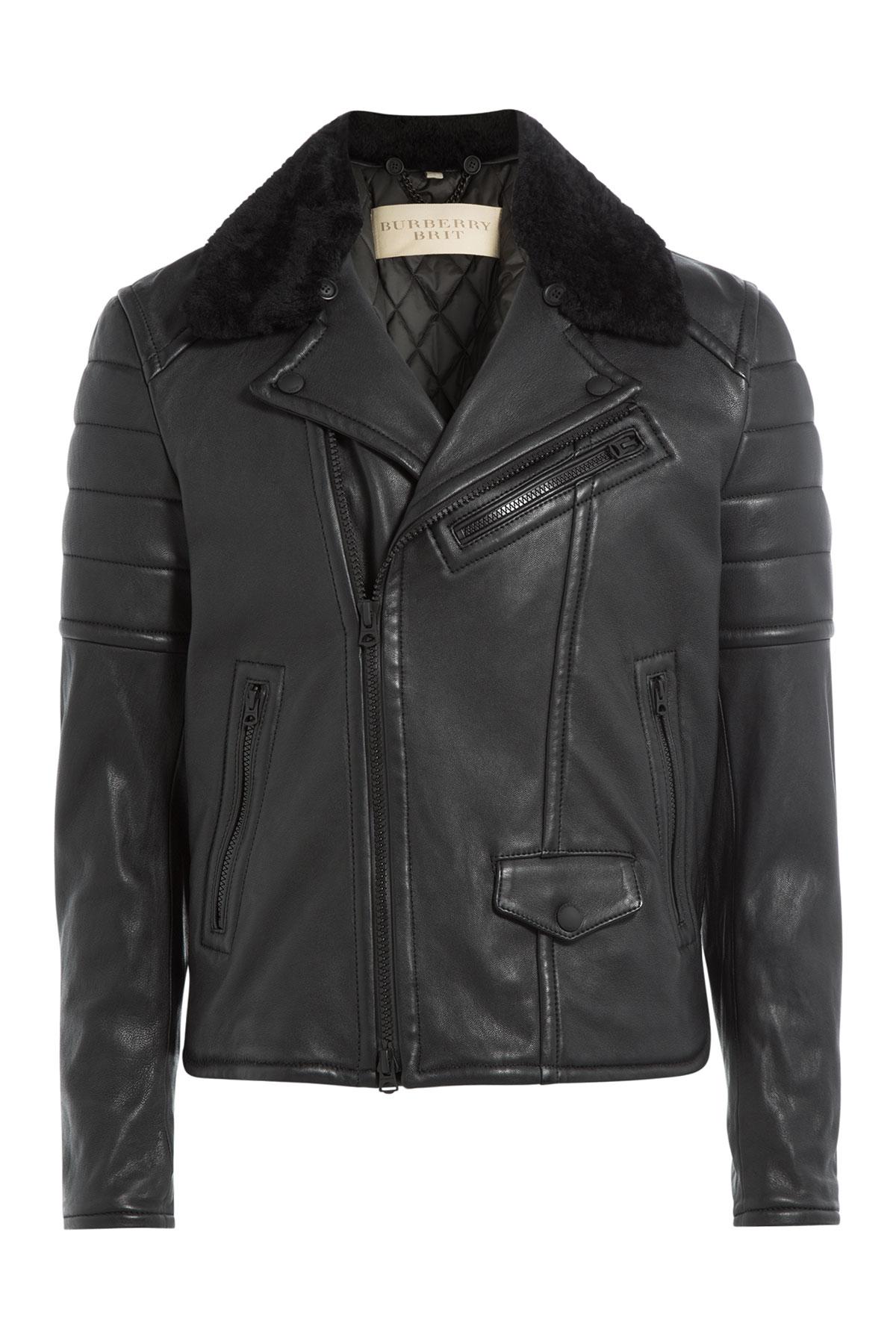 burberry brit leather biker jacket with shearling black in black for men lyst. Black Bedroom Furniture Sets. Home Design Ideas