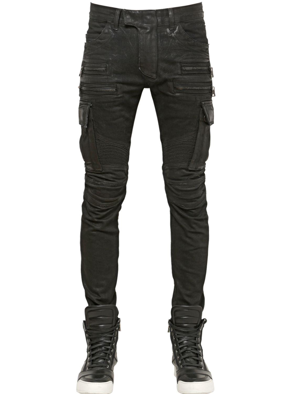 Waxed Denim Jeans Men